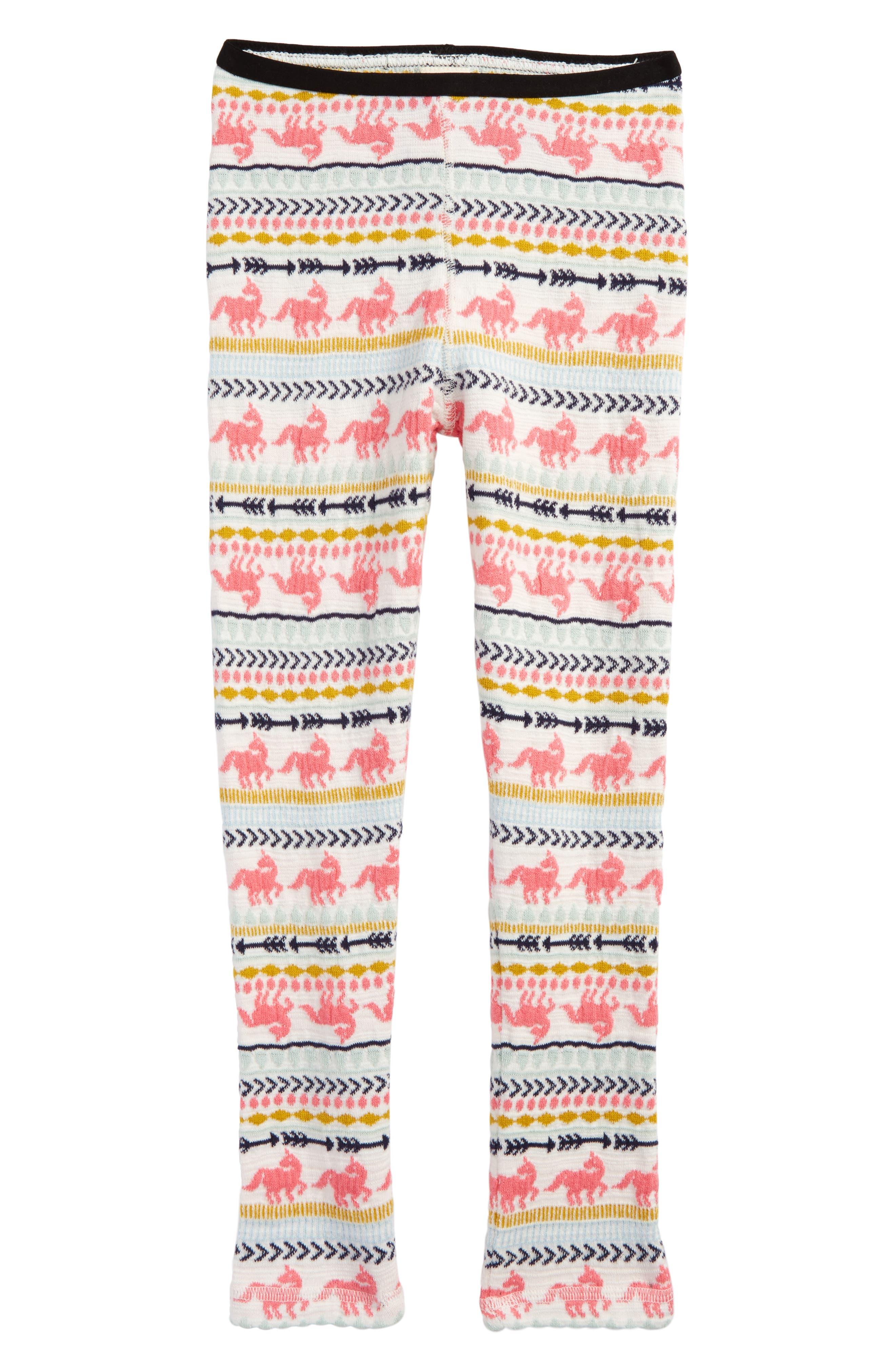 Pattern Knit Leggings,                             Main thumbnail 1, color,                             Ivory Egret Unicorn Fairisle