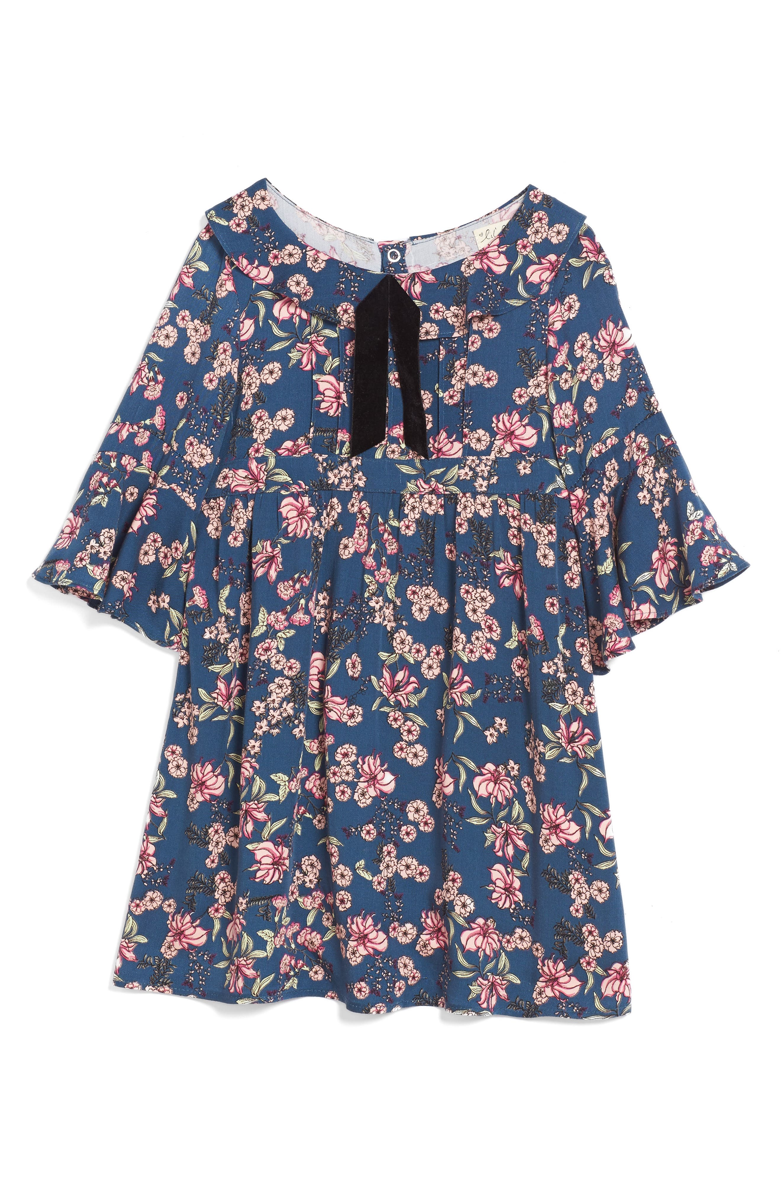 For Love & Lemons Juniper Floral Bell Sleeve Dress,                         Main,                         color, Midnight Floral