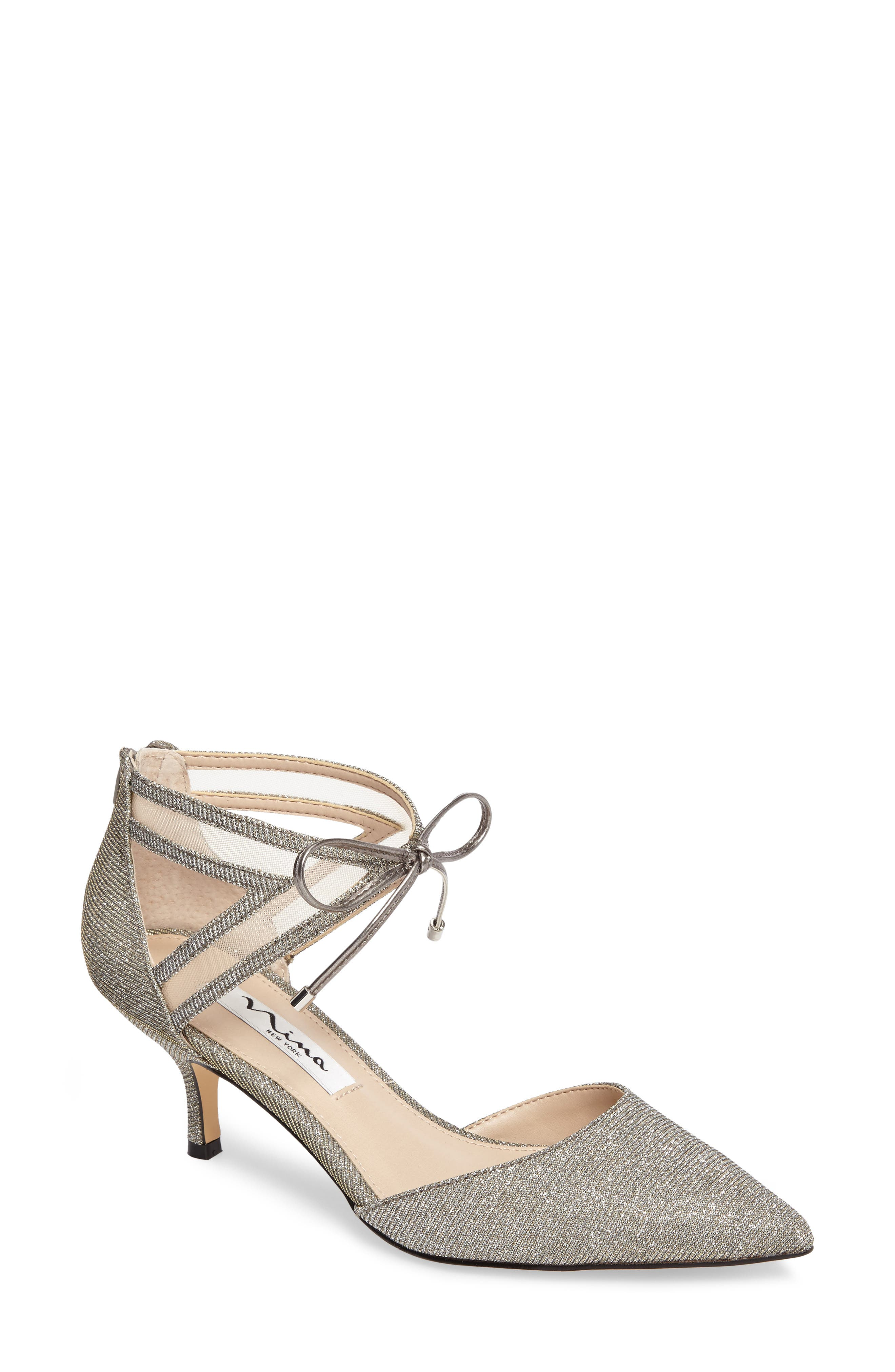 Talley Pointy Toe Pump,                         Main,                         color, Steel/ Champ Metallic Fabric