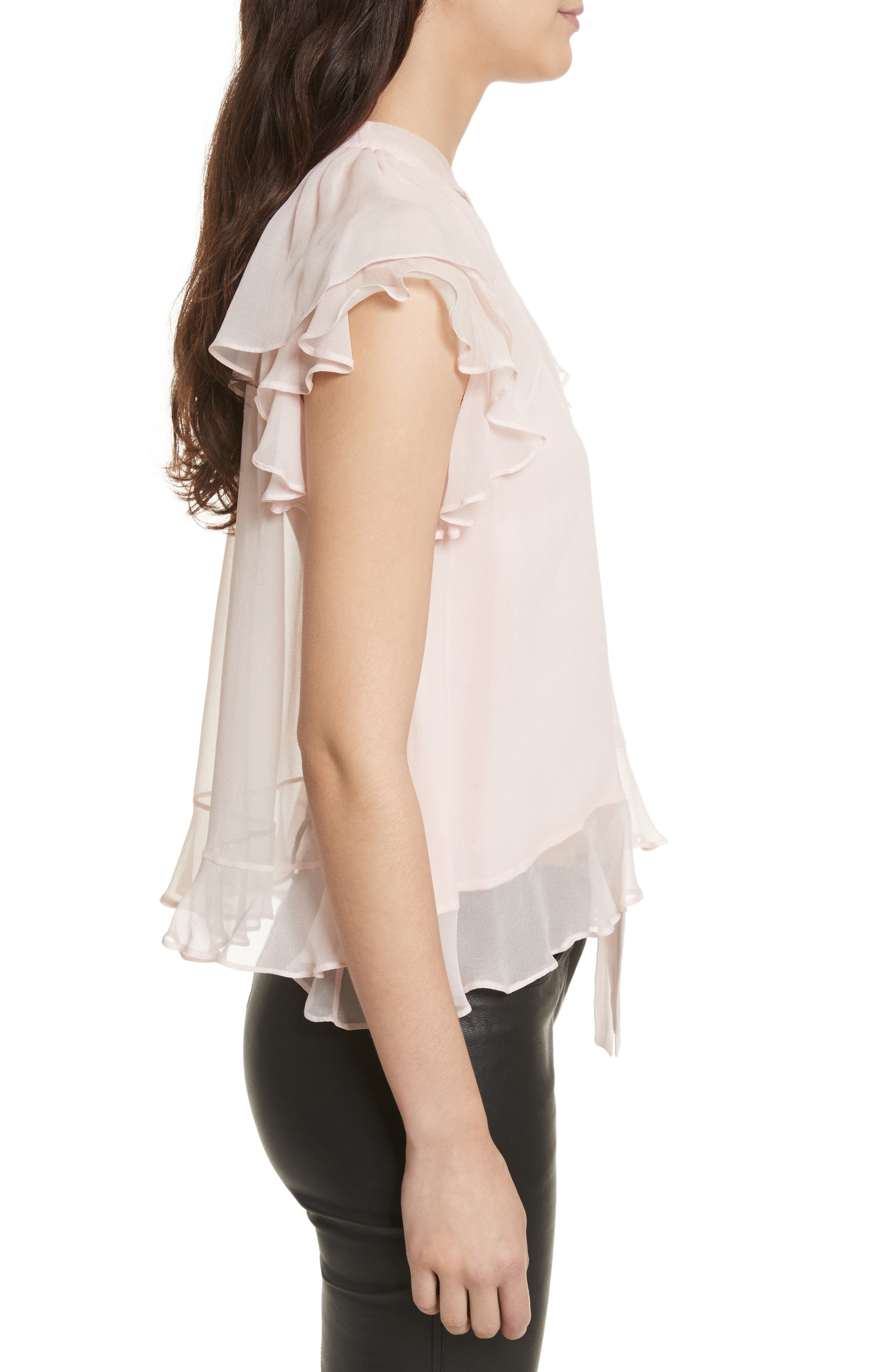 Ronni Tie Neck Top,                             Alternate thumbnail 3, color,                             Light Pink