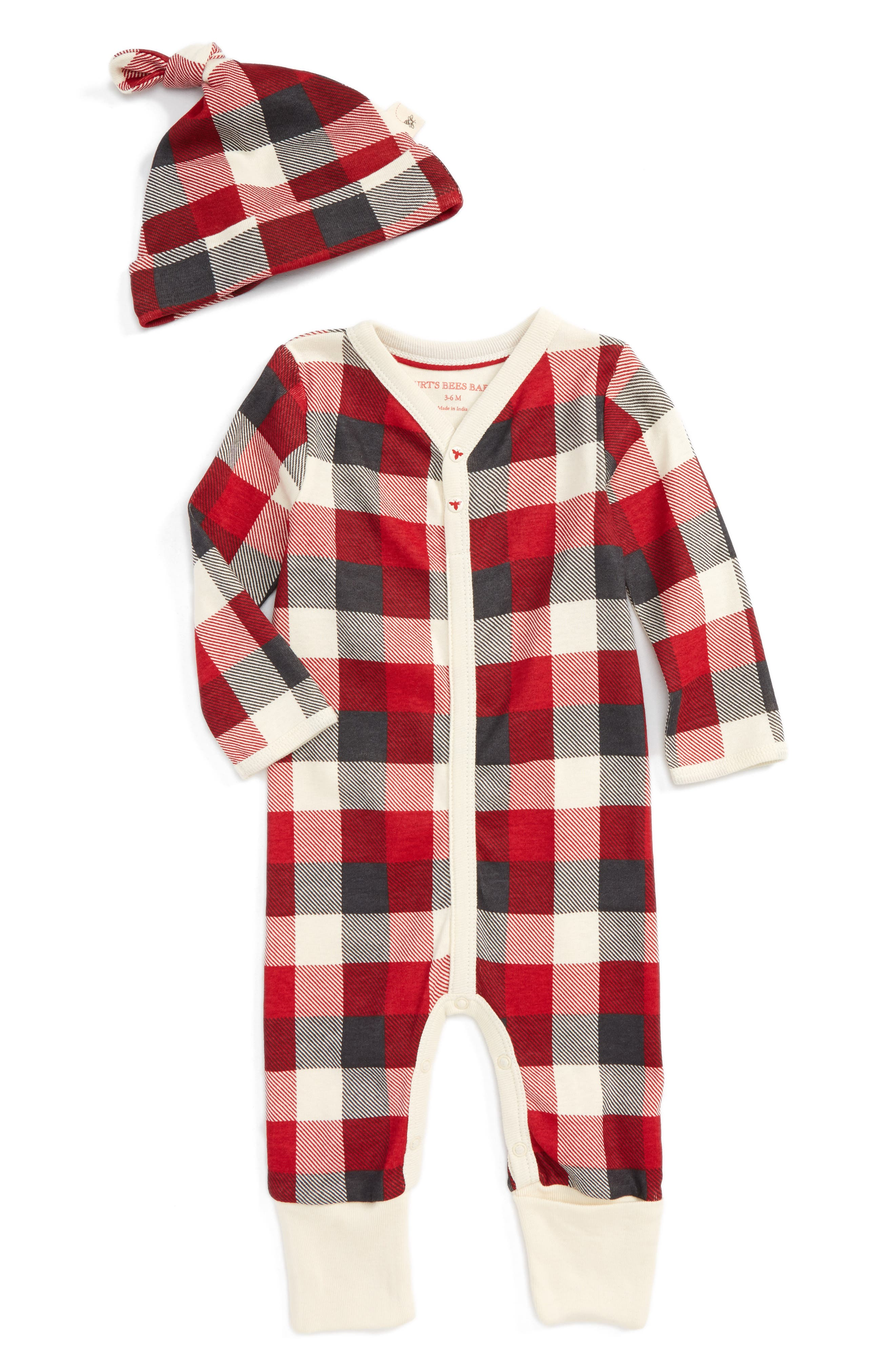 Alternate Image 1 Selected - Burt's Bees Baby Plaid Organic Cotton Romper & Hat Set (Baby)