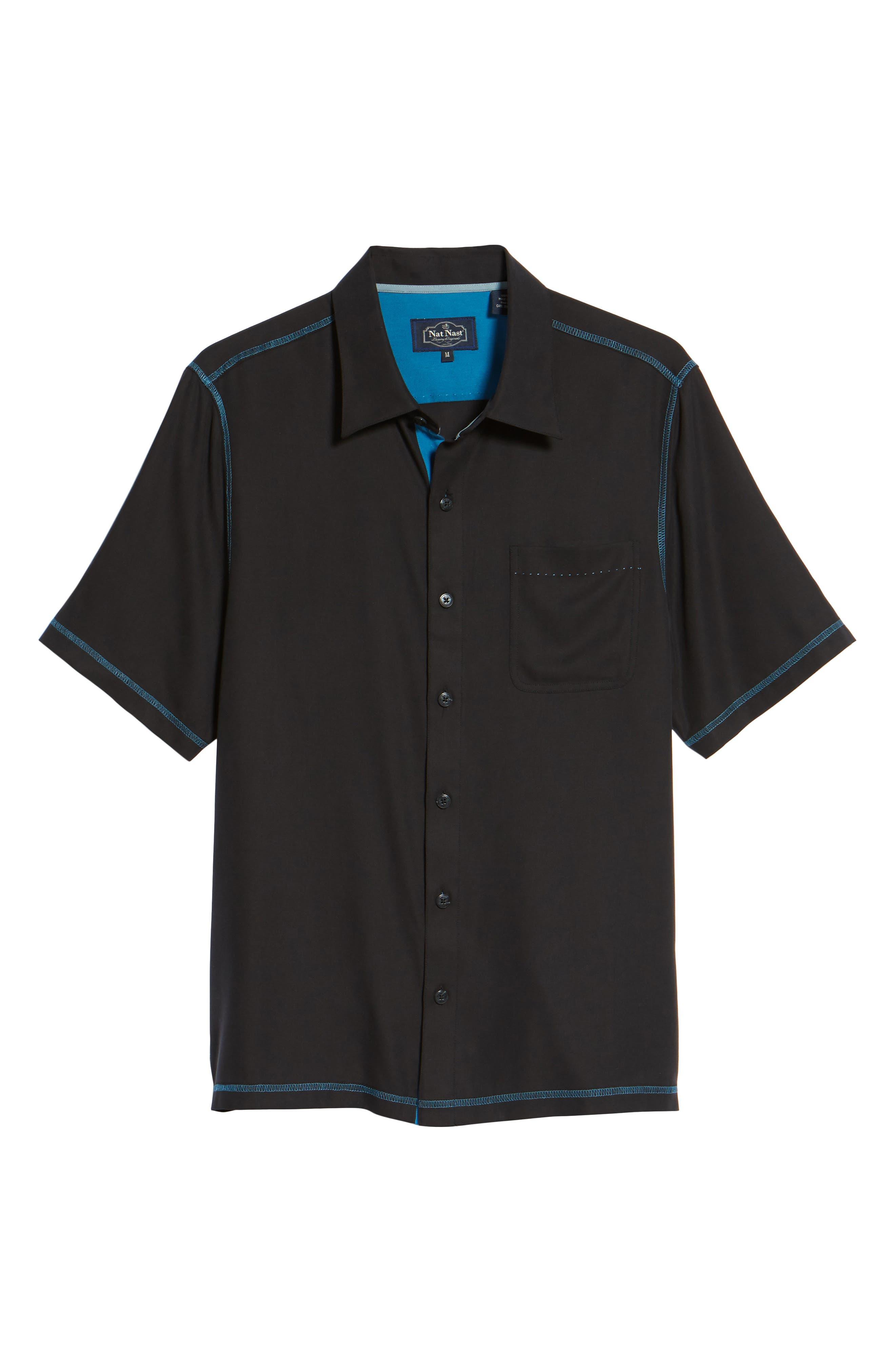 New Originals Silk Sport Shirt,                             Alternate thumbnail 6, color,                             Black