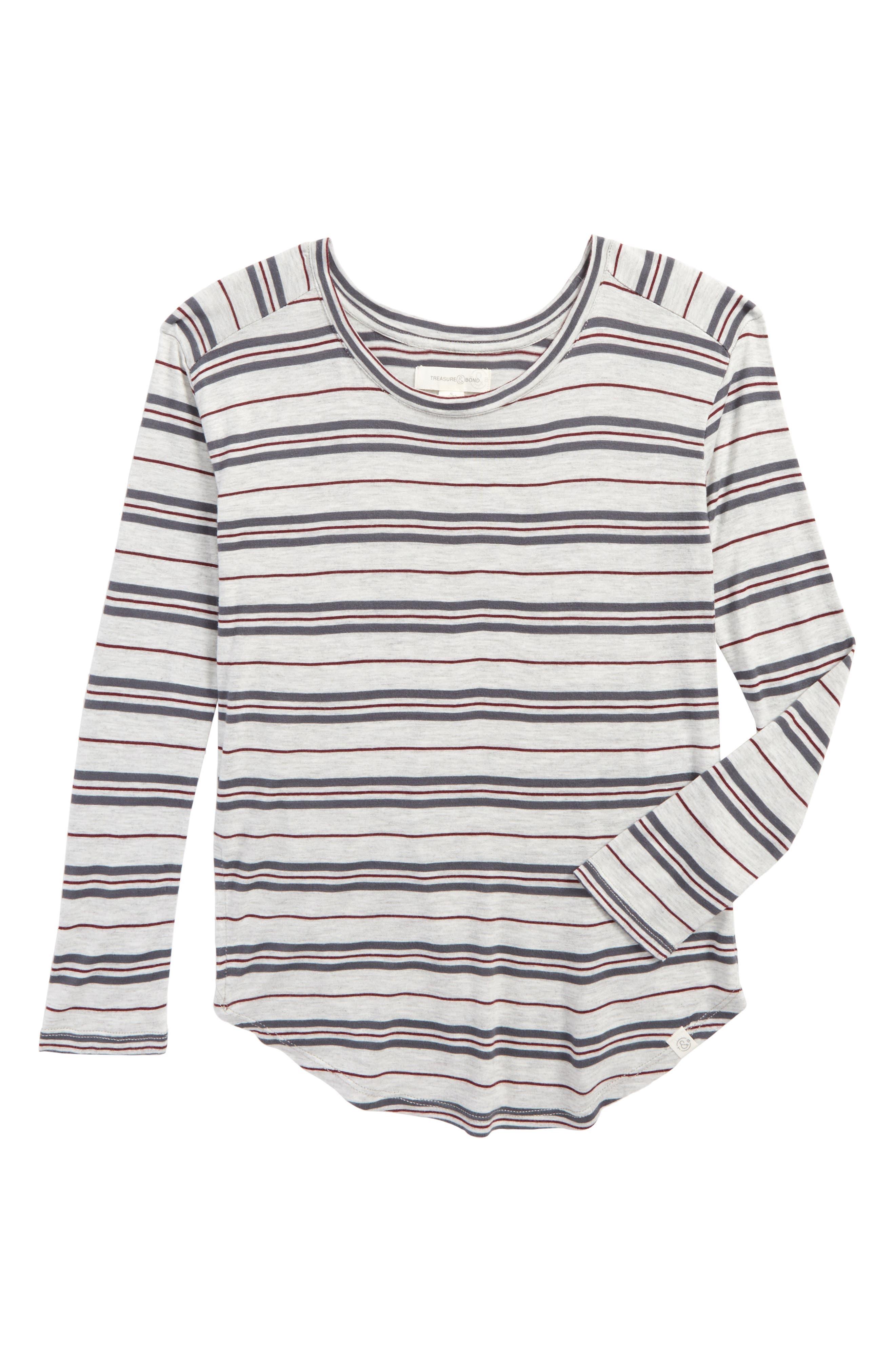 Multi Stripe Tee,                         Main,                         color, Grey Ash Heather Multi Stripe