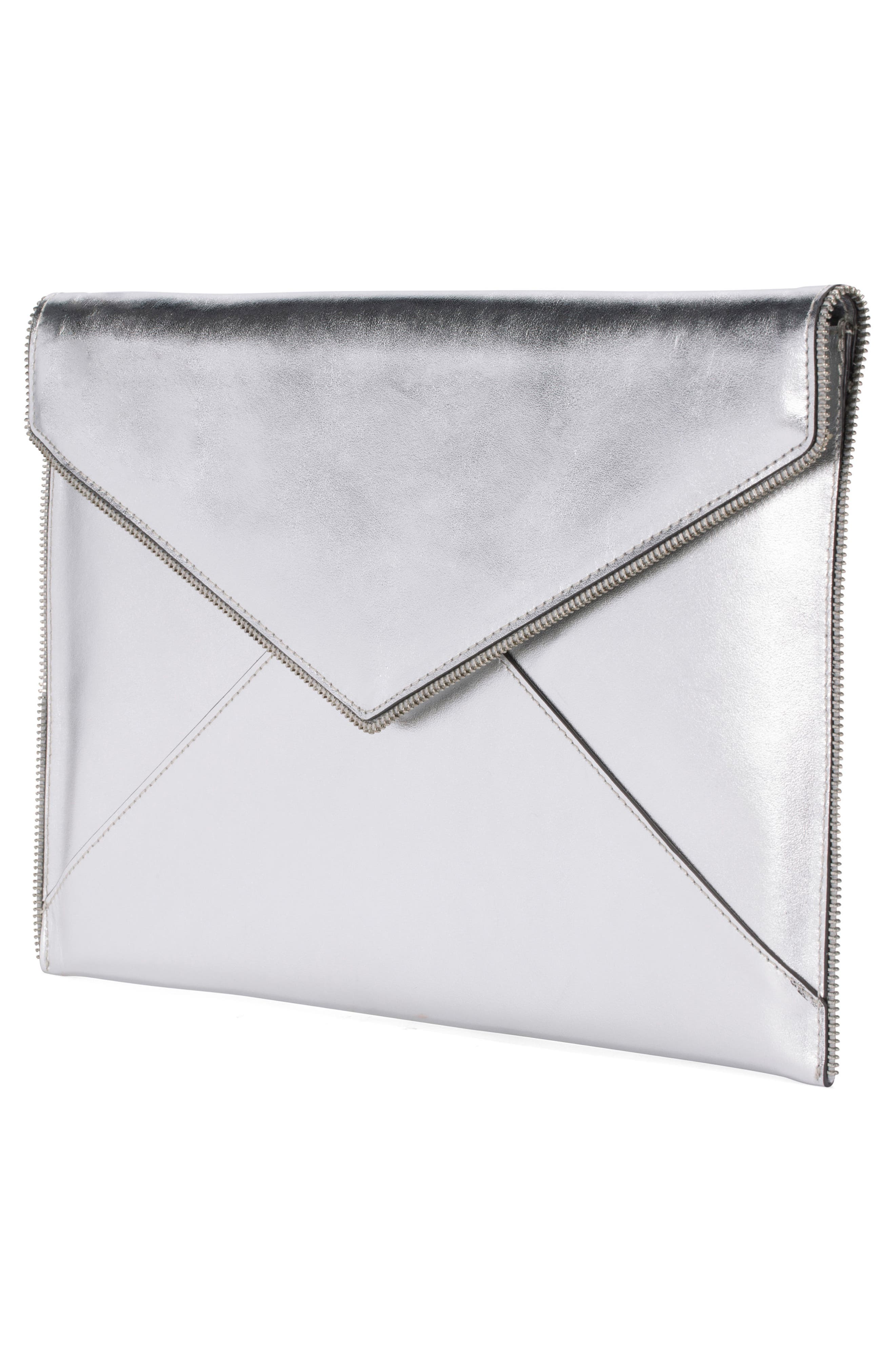 Leo Leather 13-Inch Laptop Case,                             Alternate thumbnail 4, color,                             Metallic Silver