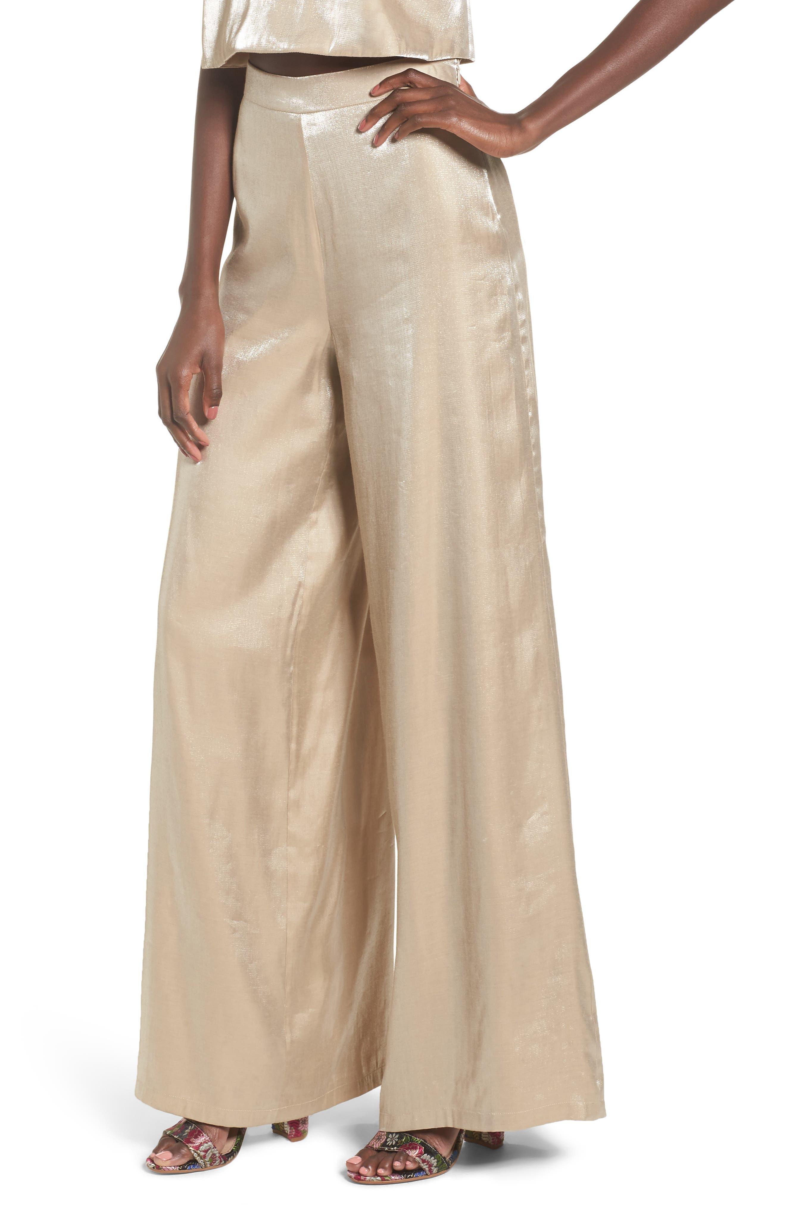 Zoey Wide Leg Pants,                         Main,                         color, Light Gold