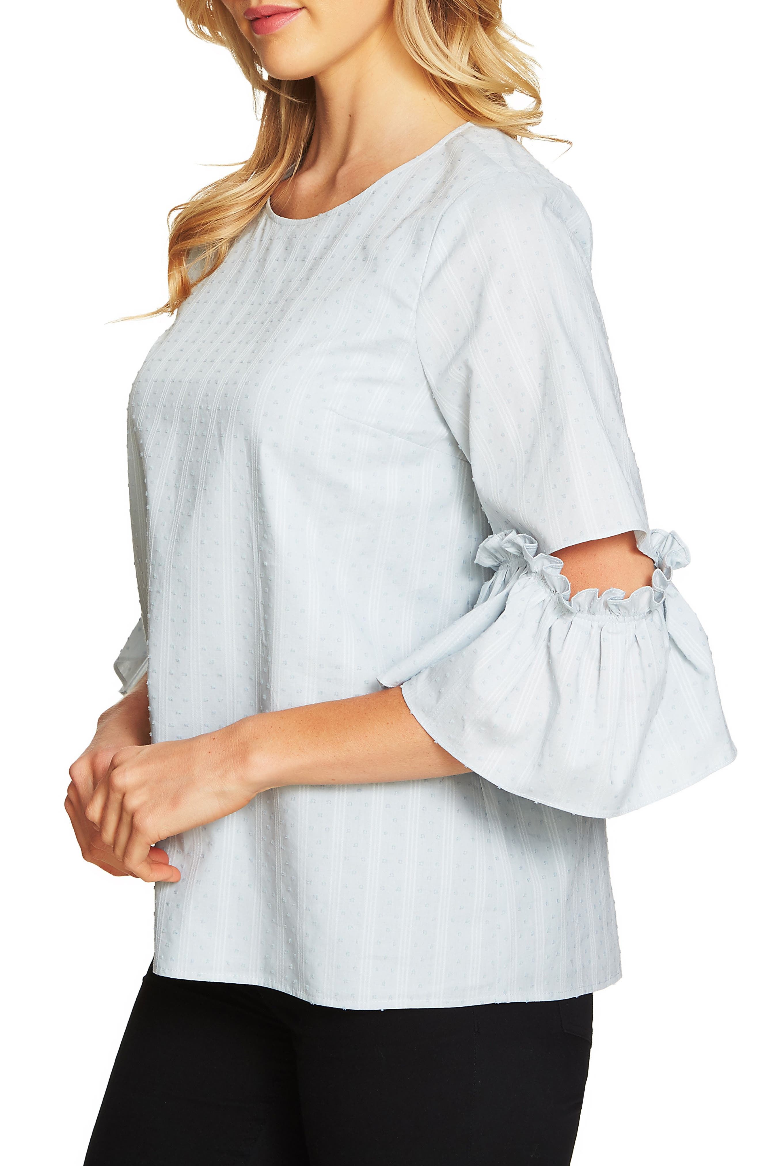 Textured Ruffle Sleeve Top,                         Main,                         color, Blue Morning