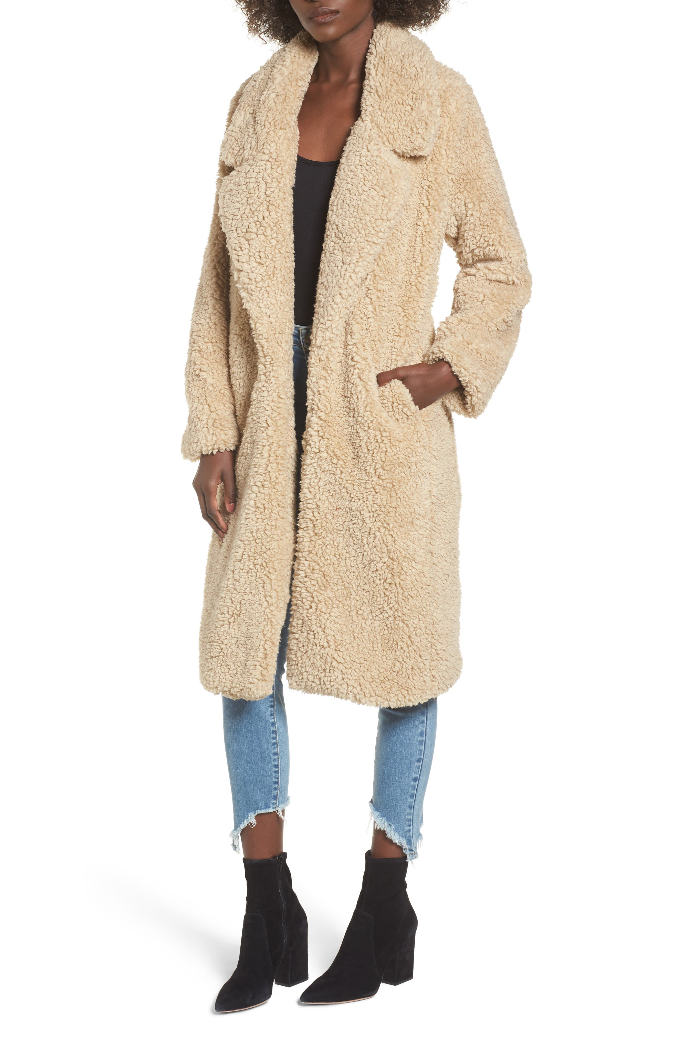 Violet Teddy Bear Coat,                             Main thumbnail 1, color,                             Beige