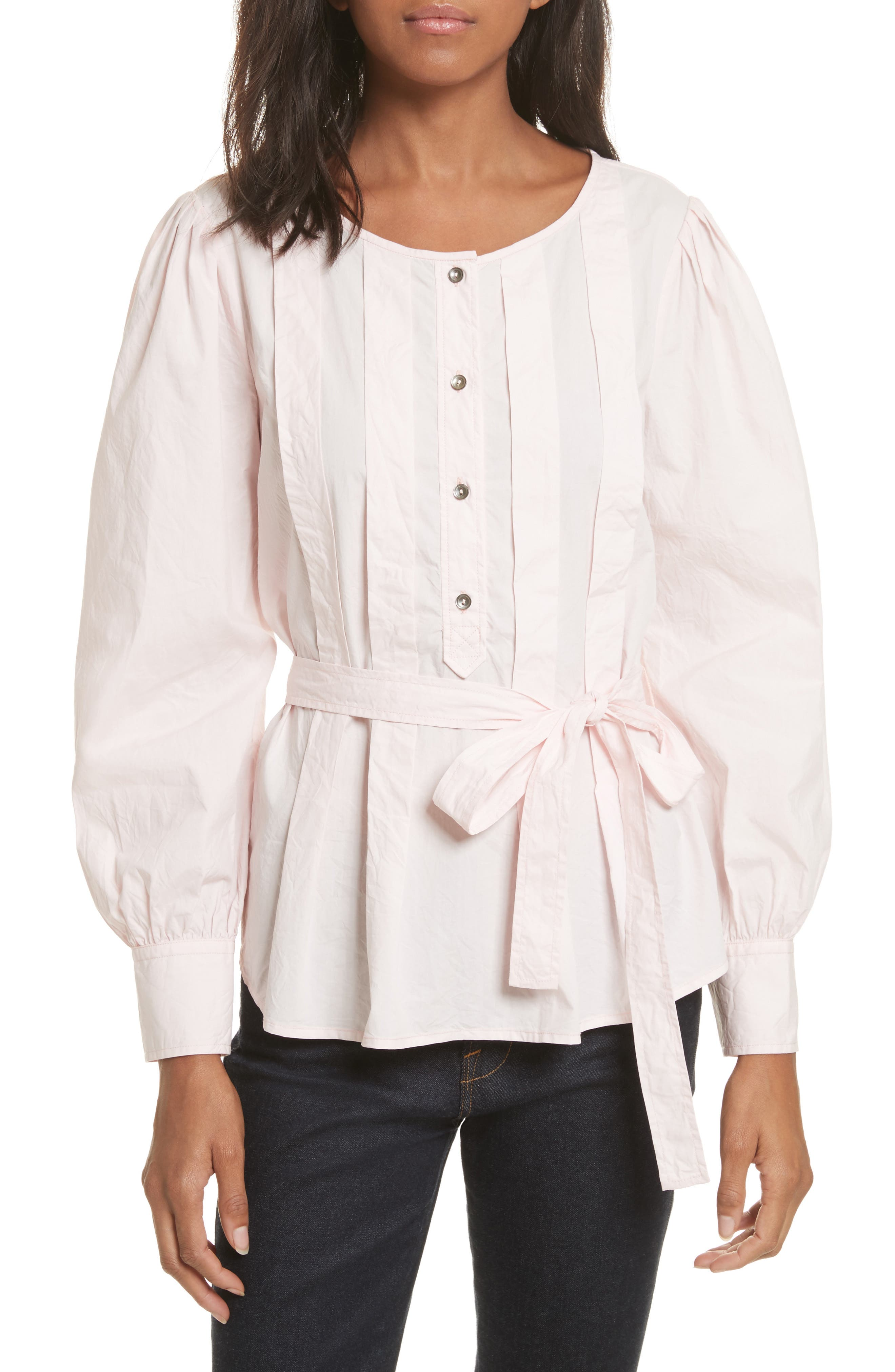 Belted Poplin Top,                             Main thumbnail 1, color,                             Cherry Blossom