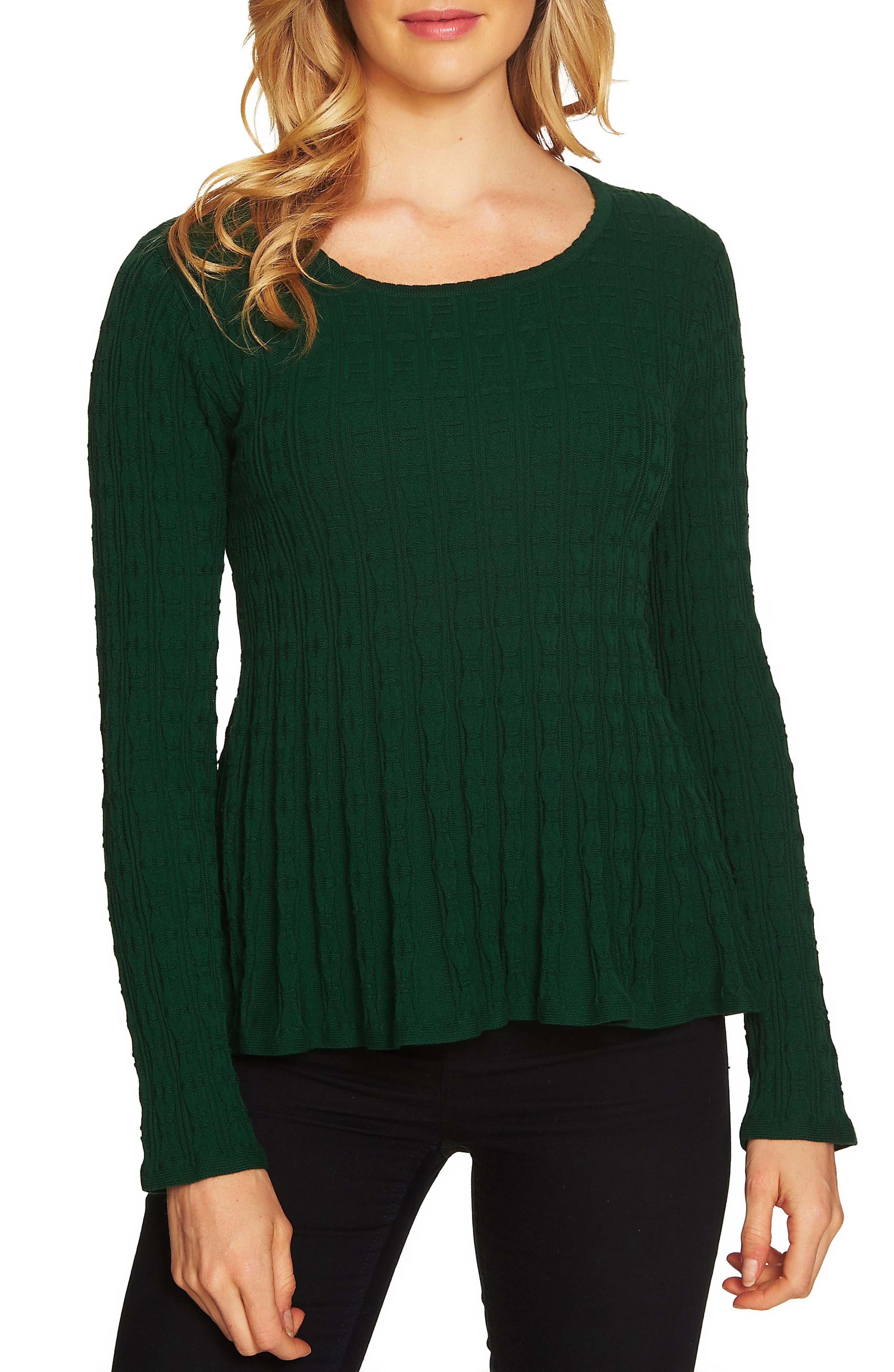 Textured Peplum Sweater,                         Main,                         color, Deep Green