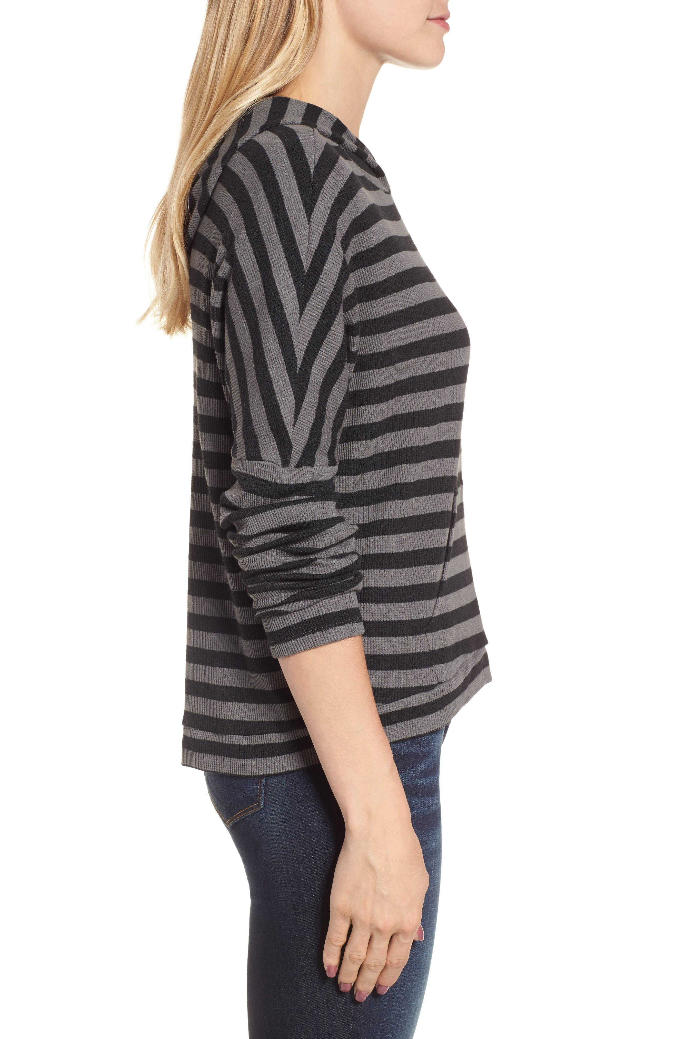 Stripe Thermal Hoodie,                             Alternate thumbnail 3, color,                             Charcoal