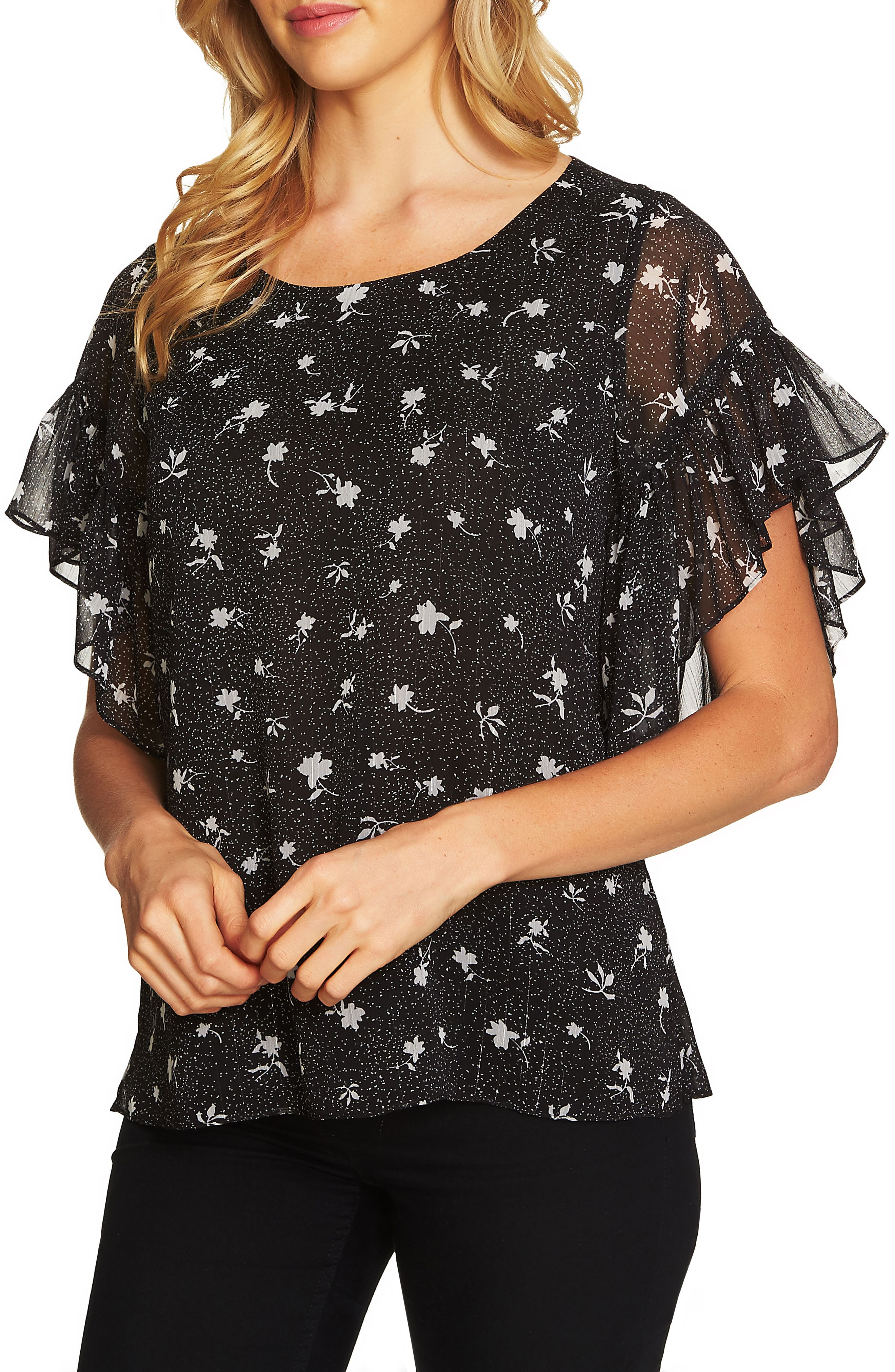 Dotty Ruffle Sleeve Top,                             Main thumbnail 1, color,                             Rich Black