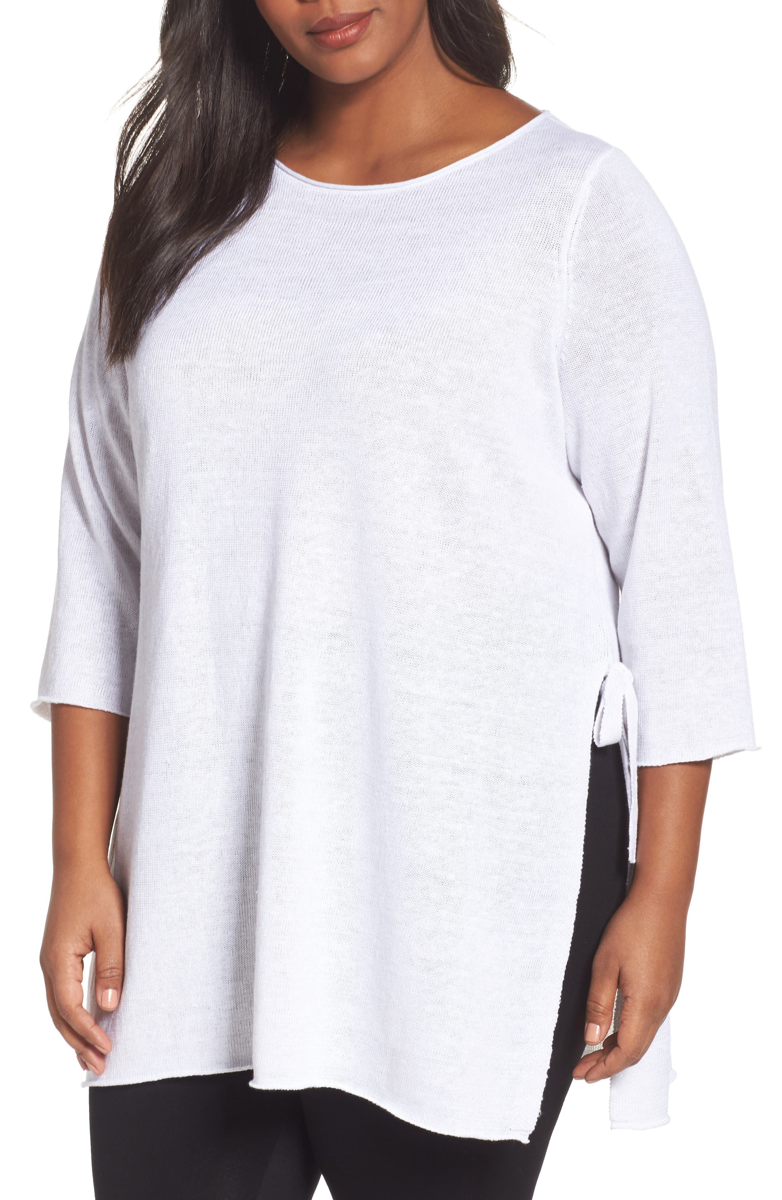 Main Image - Eileen Fisher Side Tie Organic Linen Sweater (Plus Size)