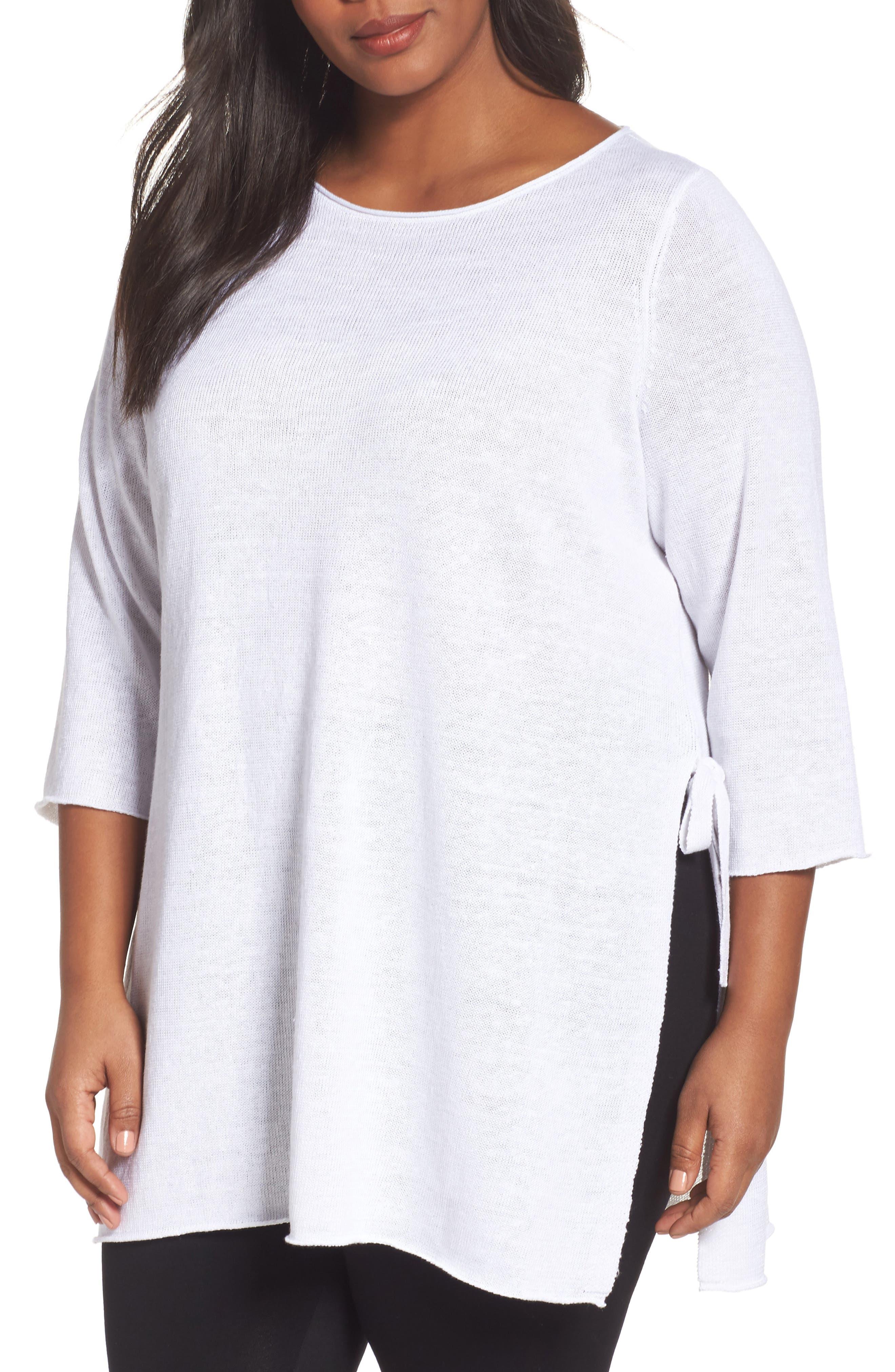 Eileen Fisher Side Tie Organic Linen Sweater (Plus Size)