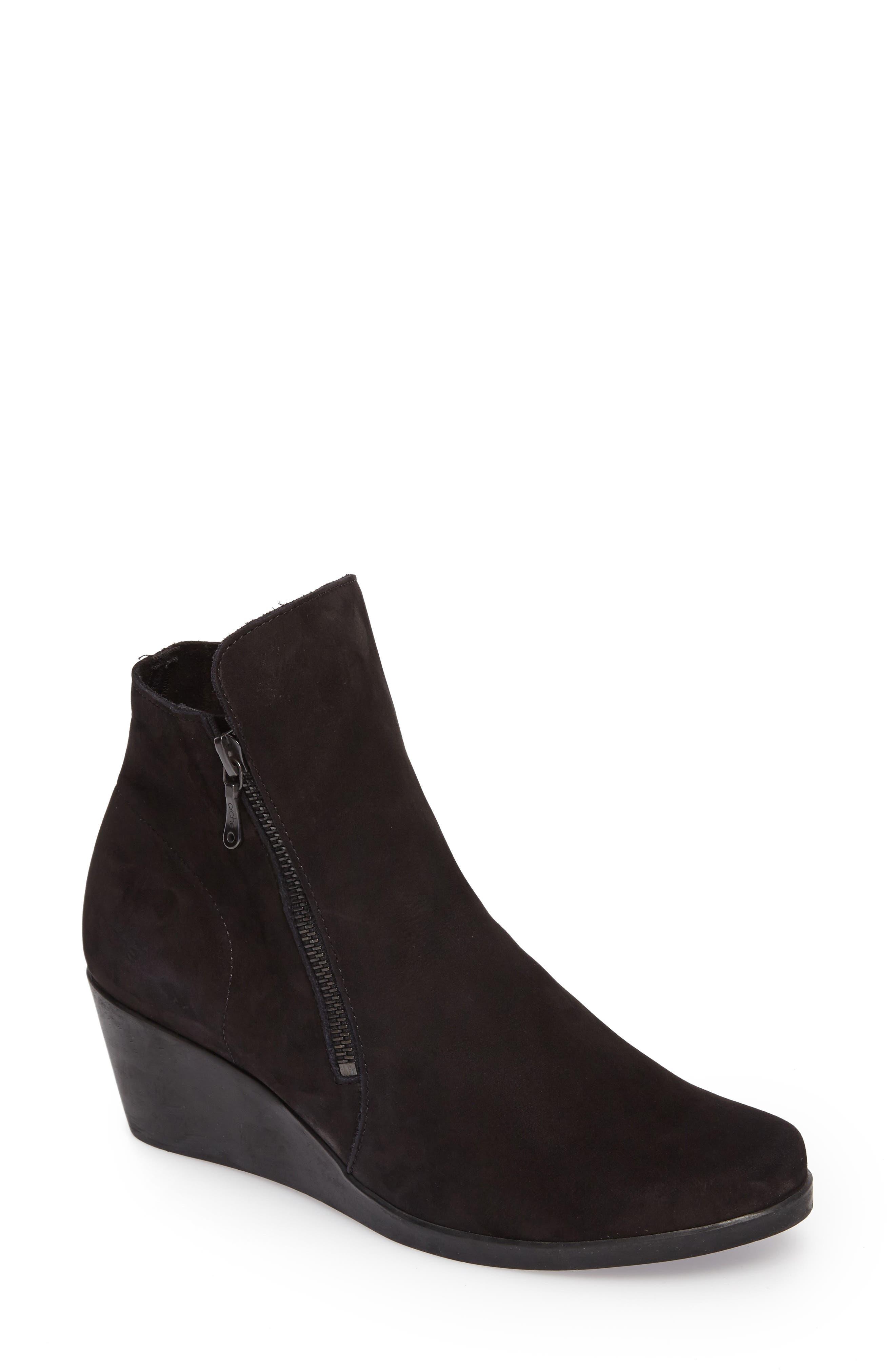 Jolia Water Resistant Bootie,                         Main,                         color, Noir Nubuck Leather