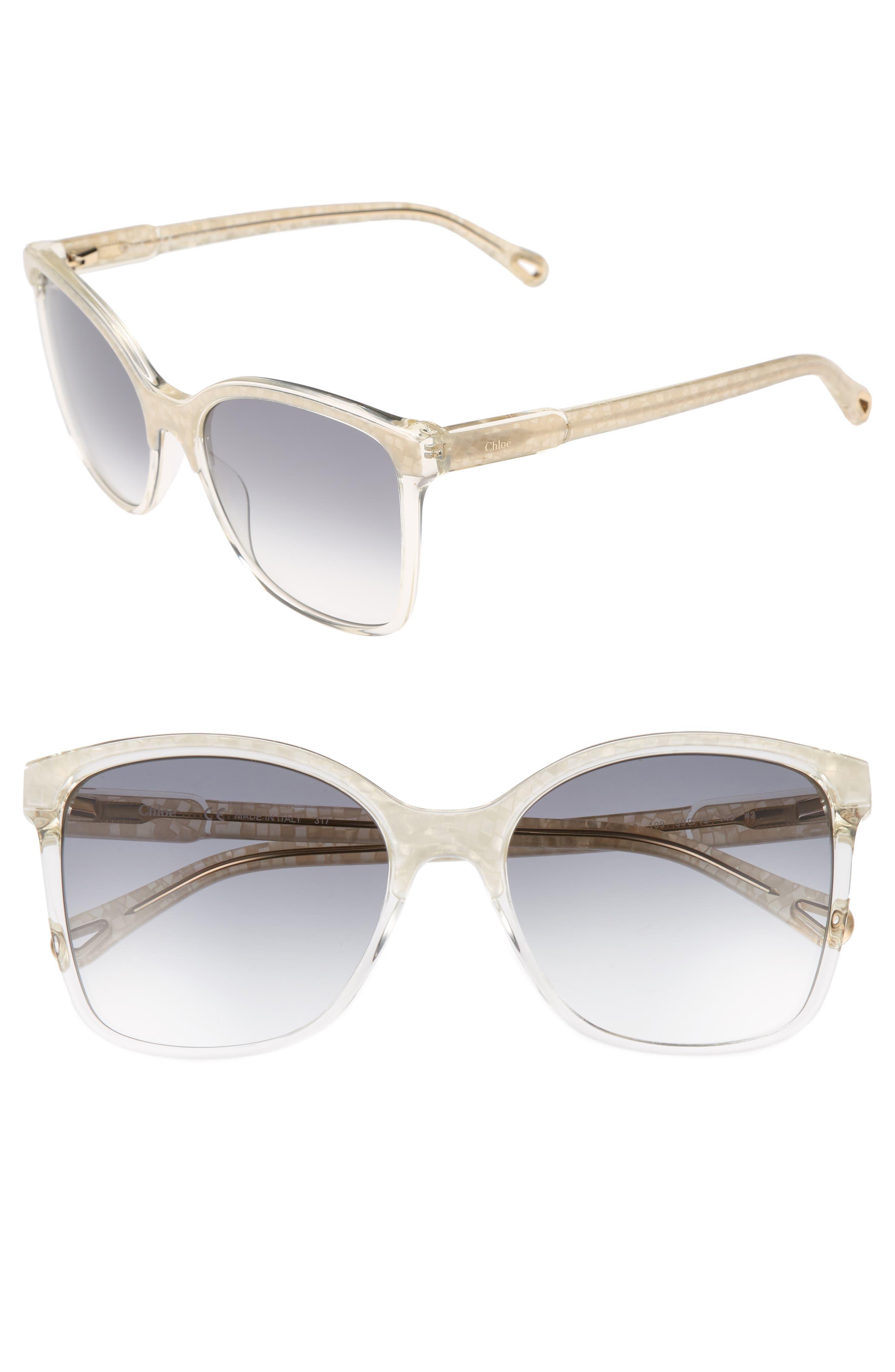 59mm Brow Bar Sunglasses,                             Main thumbnail 1, color,                             Pearl/ Champagne