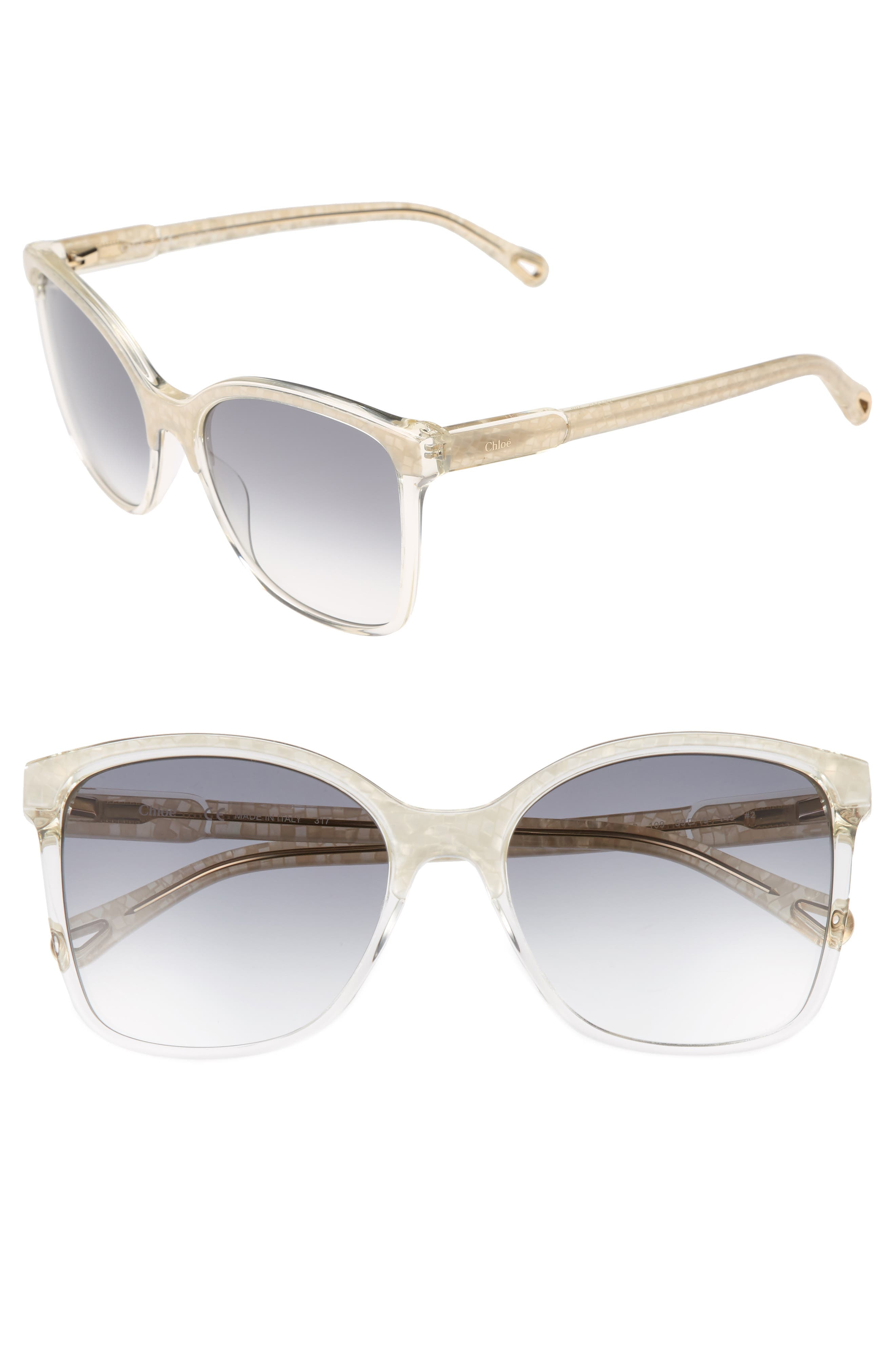 59mm Brow Bar Sunglasses,                         Main,                         color, Pearl/ Champagne
