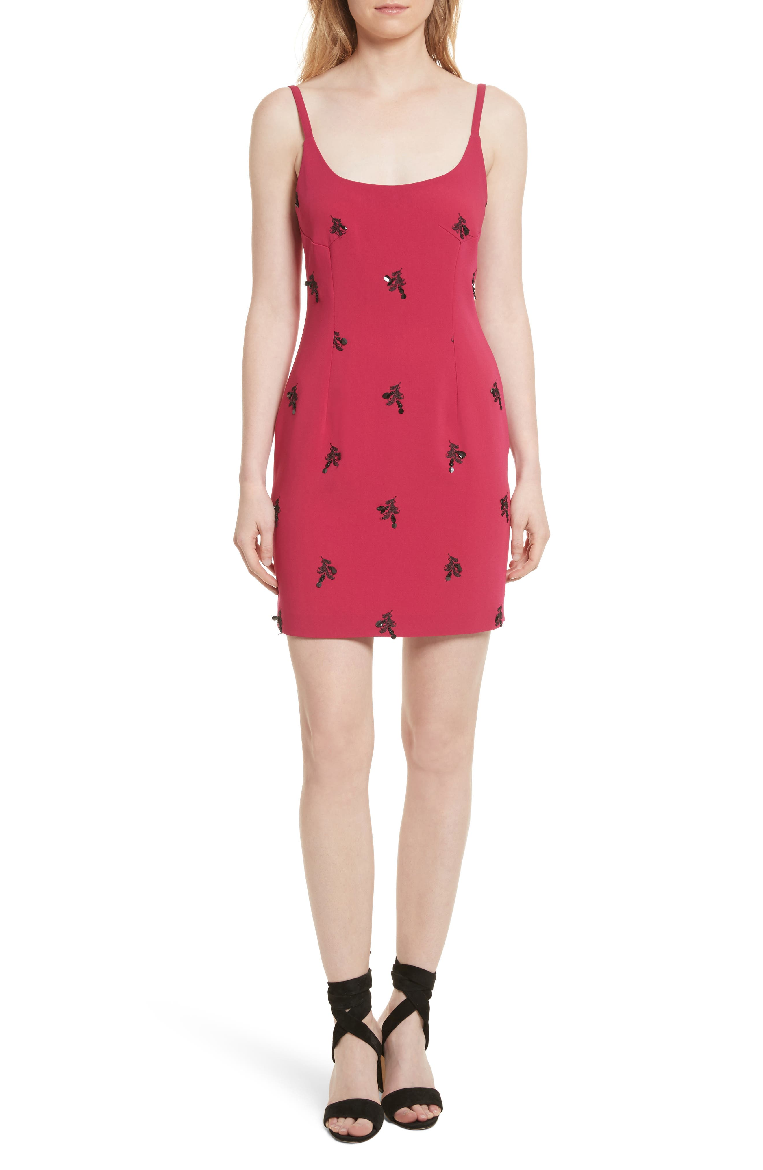 Gal Embroidered Lace-Up Back Dress,                         Main,                         color, Cerise/ Black