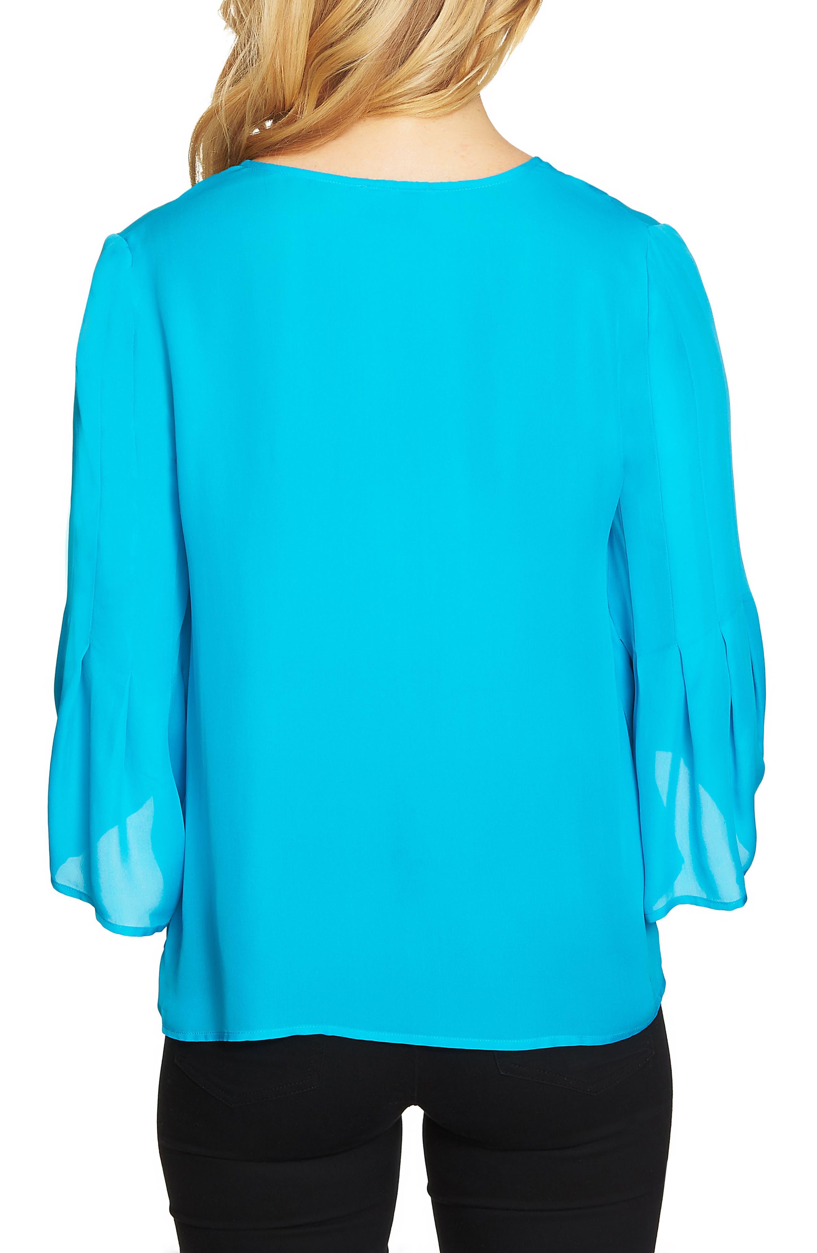 Flare Sleeve Blouse,                             Alternate thumbnail 2, color,                             Blue Morning