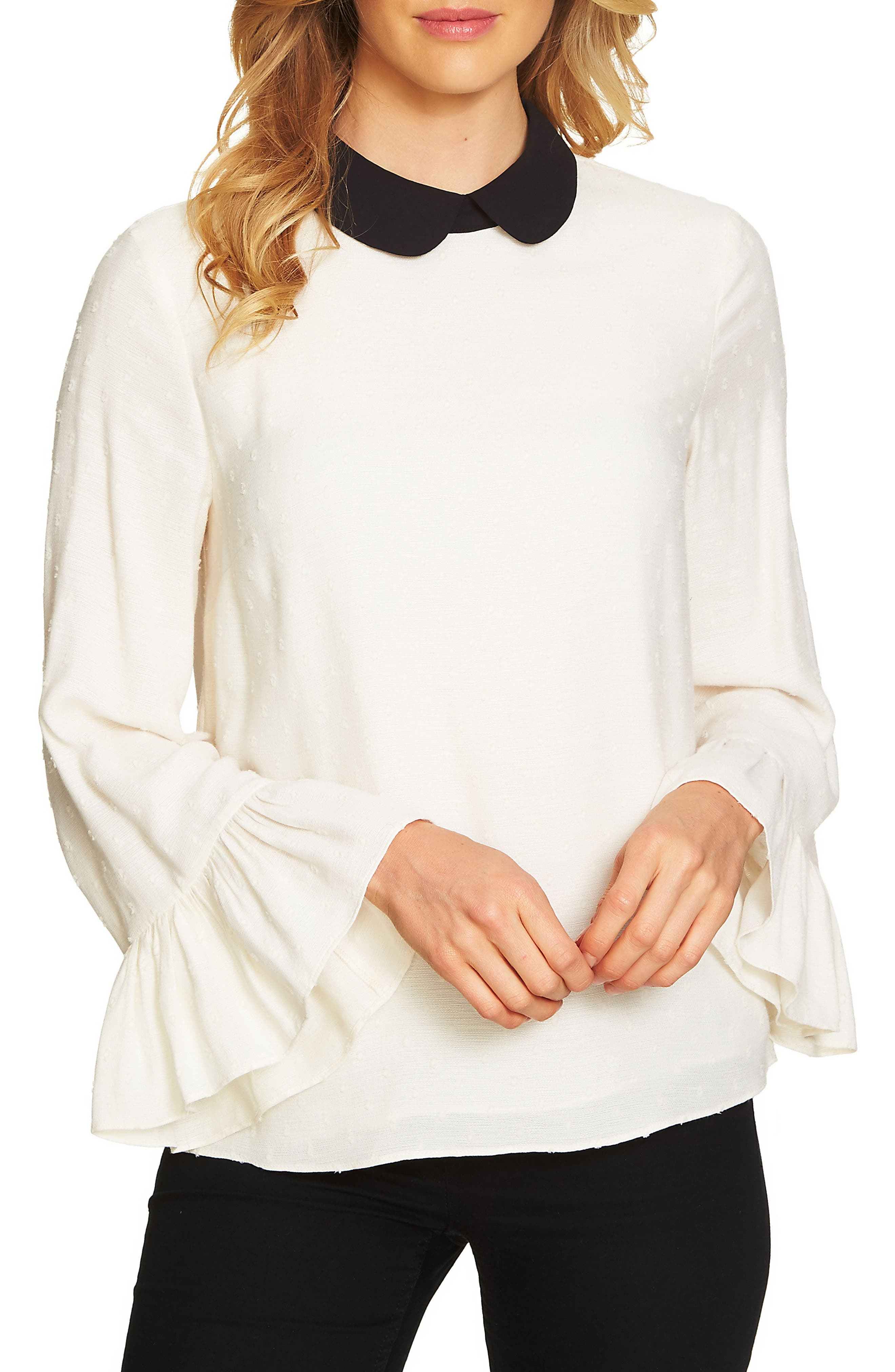 Ruffle Sleeve Swiss Dot Collared Top,                         Main,                         color, Antique White
