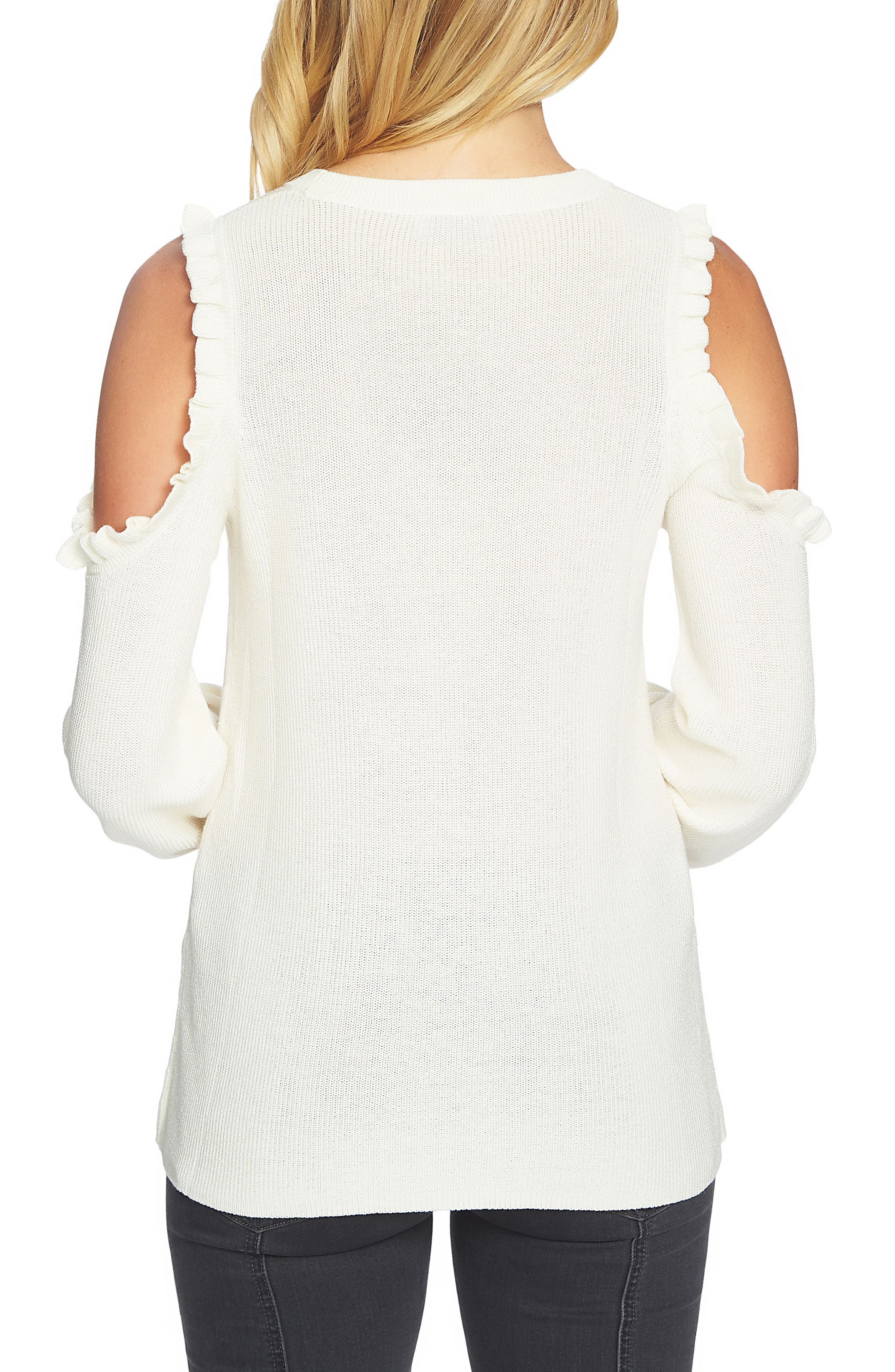 Cold Shoulder Sweater,                             Alternate thumbnail 2, color,                             Antique White