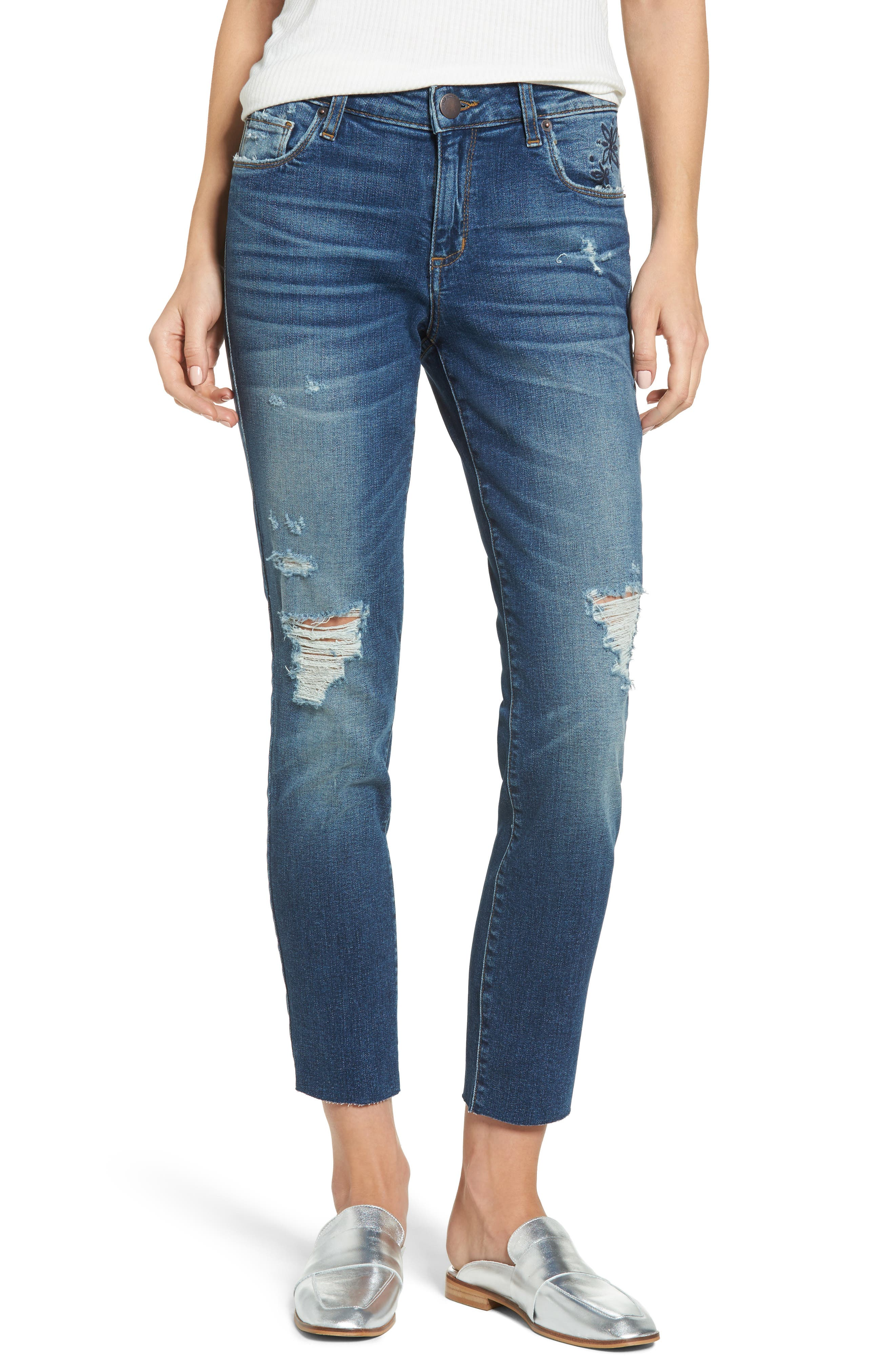 Taylor Distressed and Embroidered Straight Leg Jeans,                             Main thumbnail 1, color,                             Rosedale