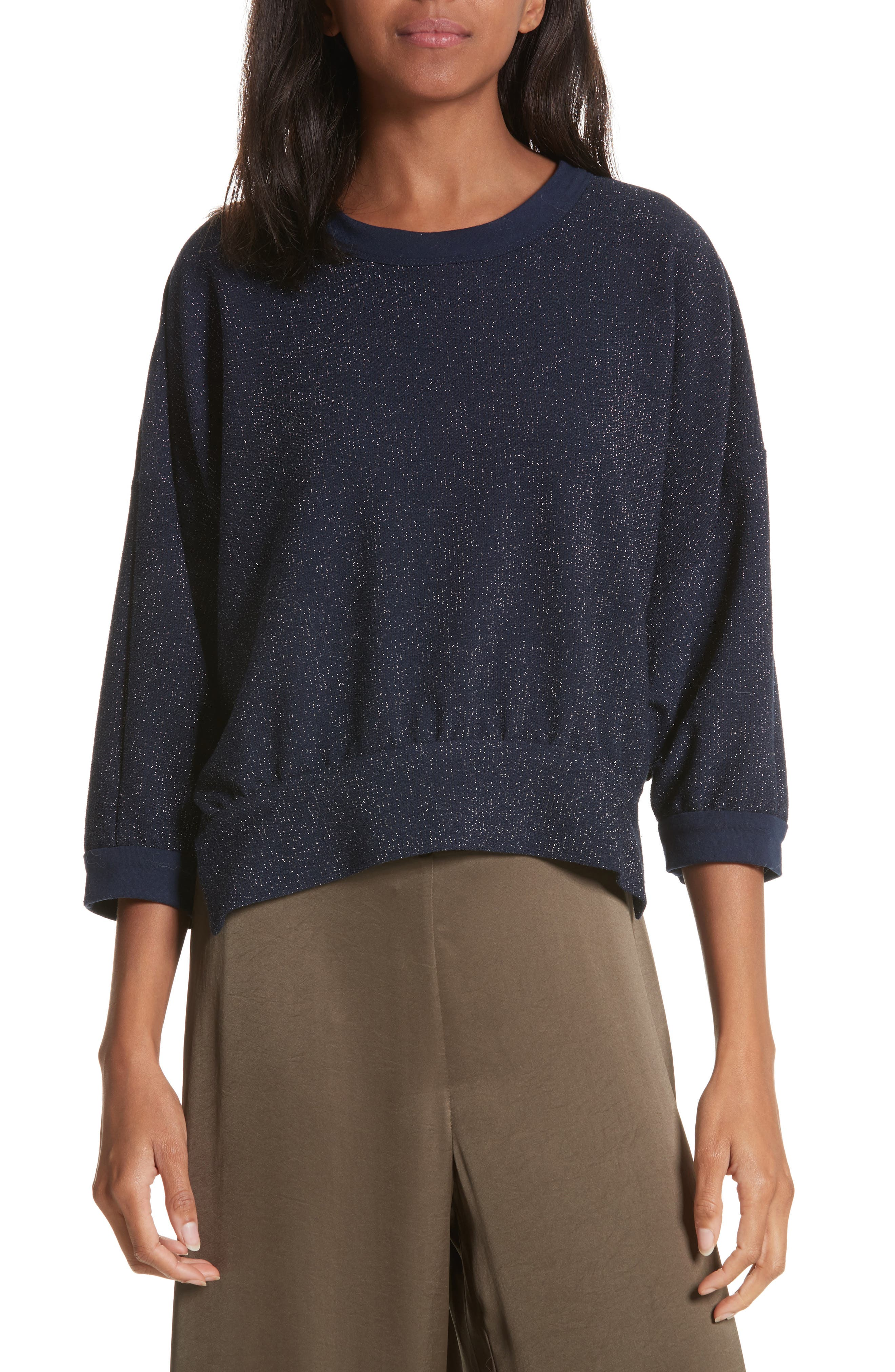 Bae Metallic Knit Top,                         Main,                         color, Navy