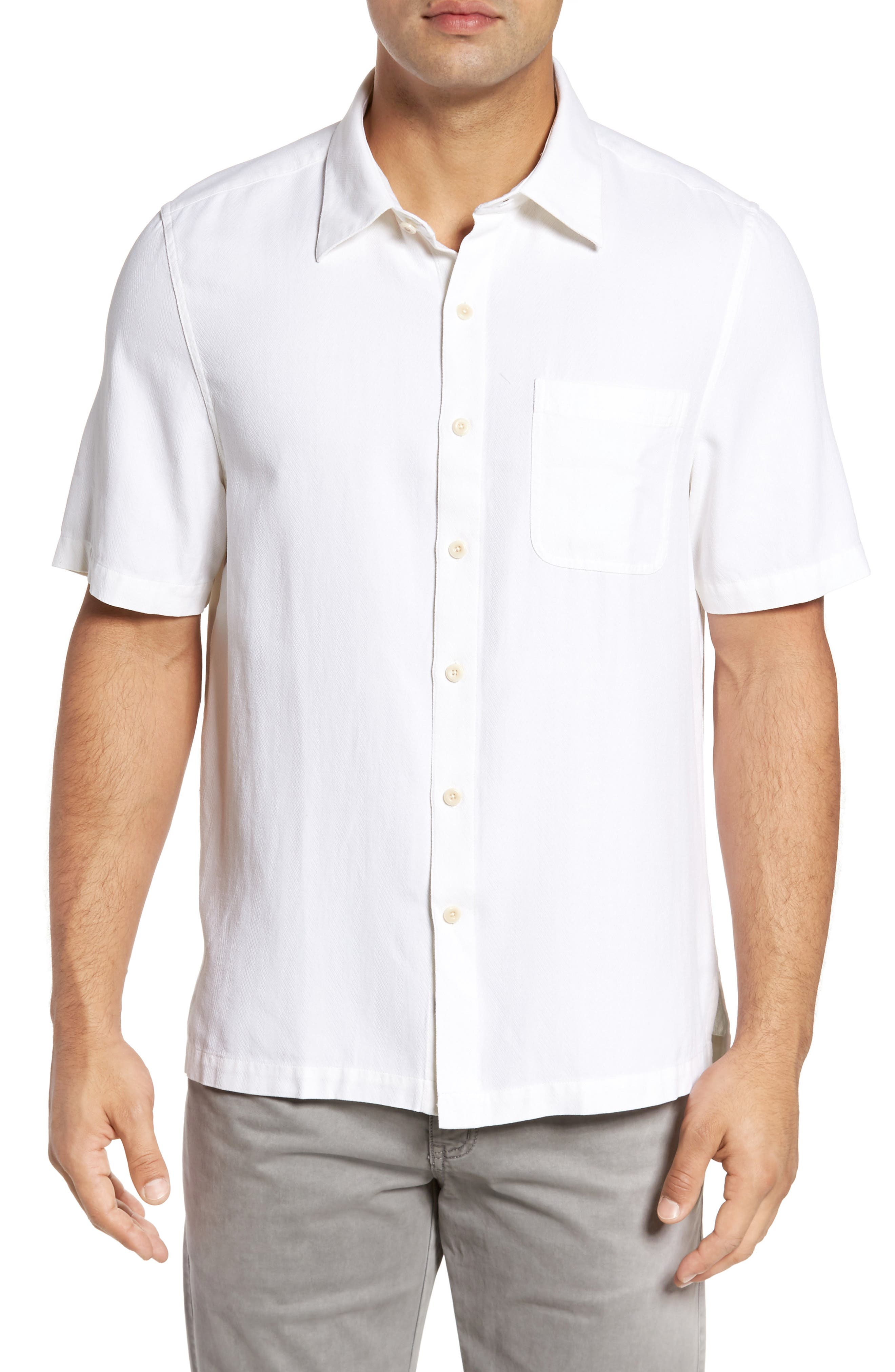 With a Twist Silk Blend Camp Shirt,                         Main,                         color, White