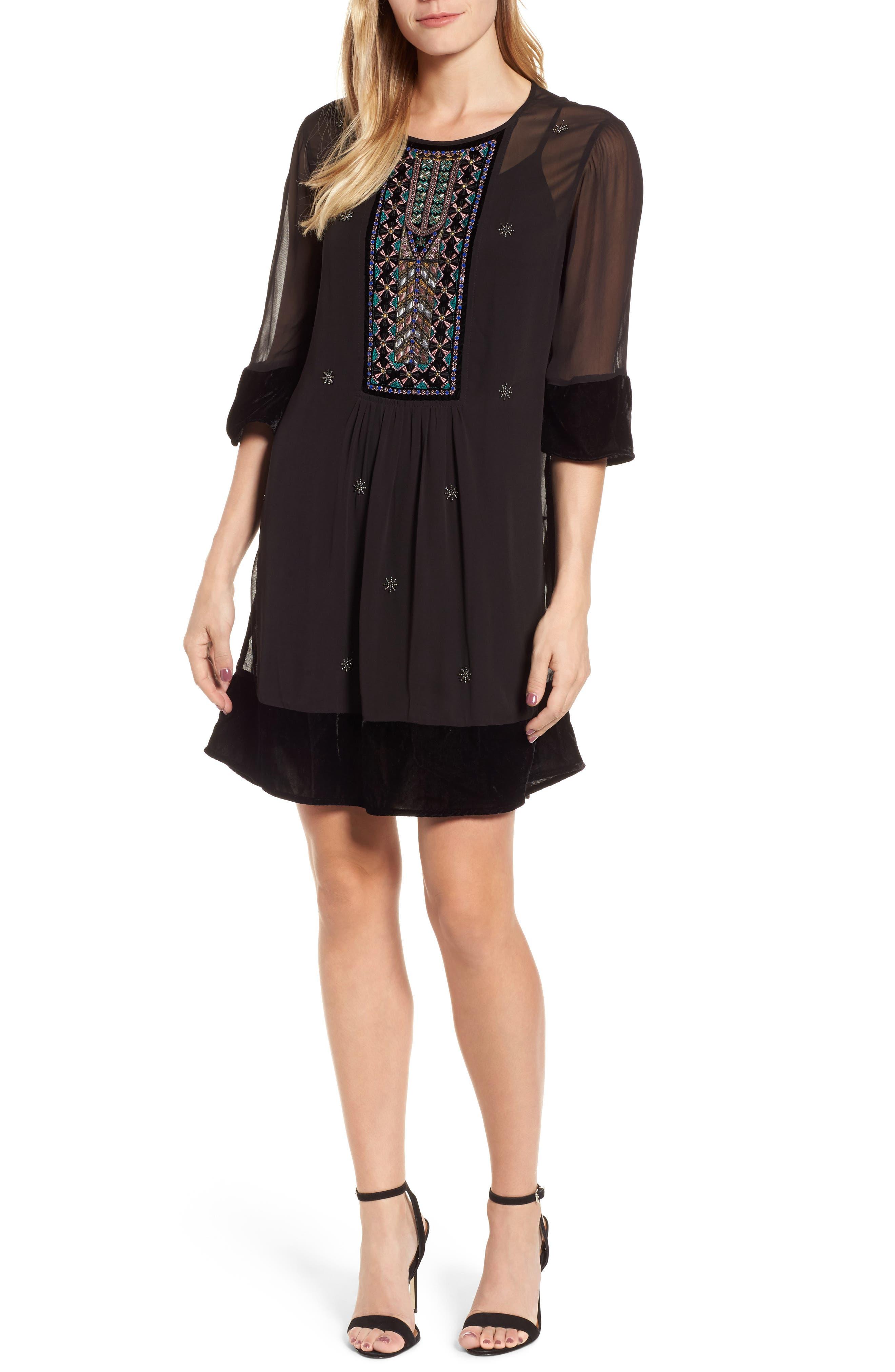 Beaded Velvet Georgette Dress,                             Main thumbnail 1, color,                             Black