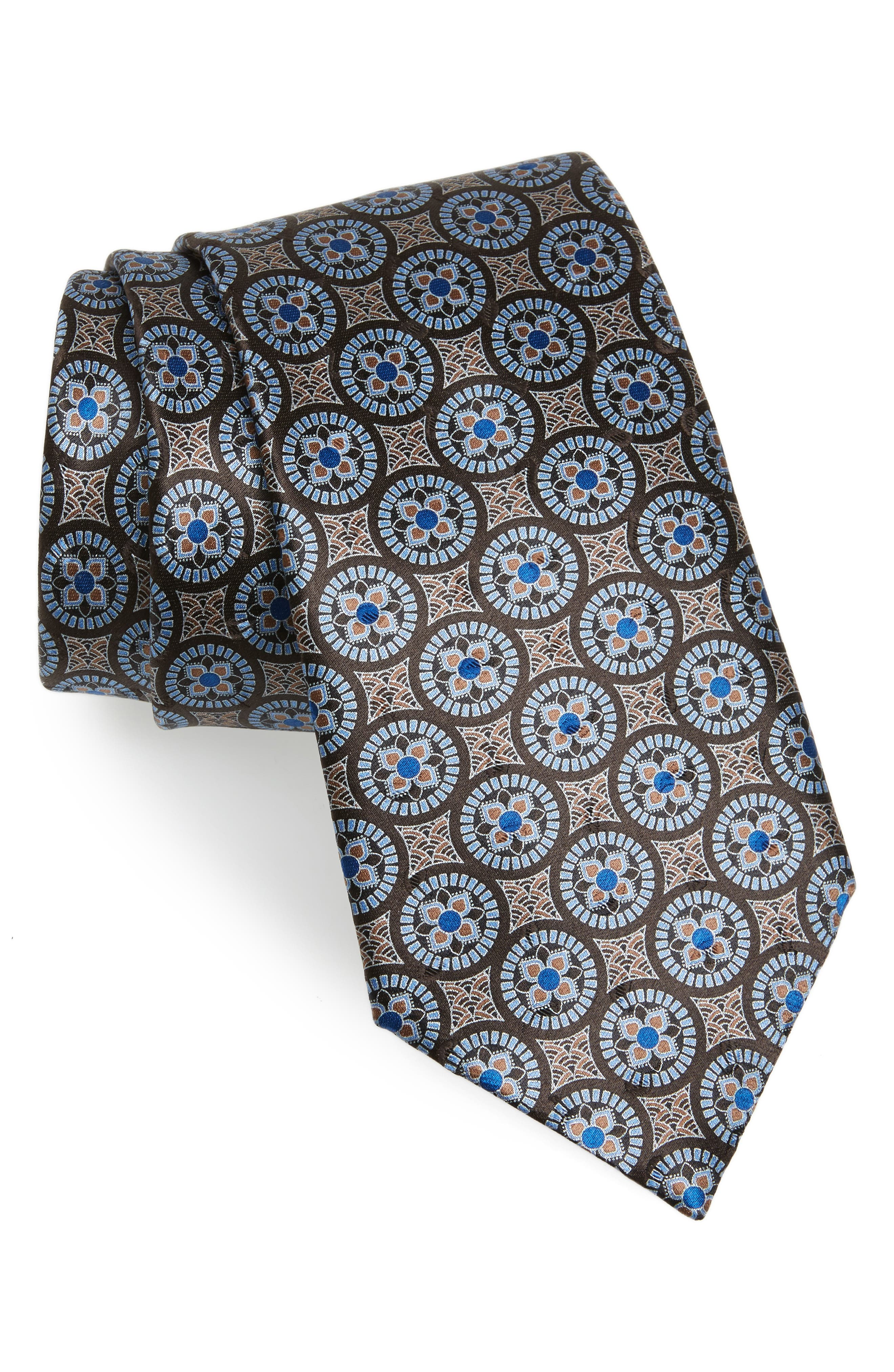 Medallion Silk Tie,                         Main,                         color, Taupe
