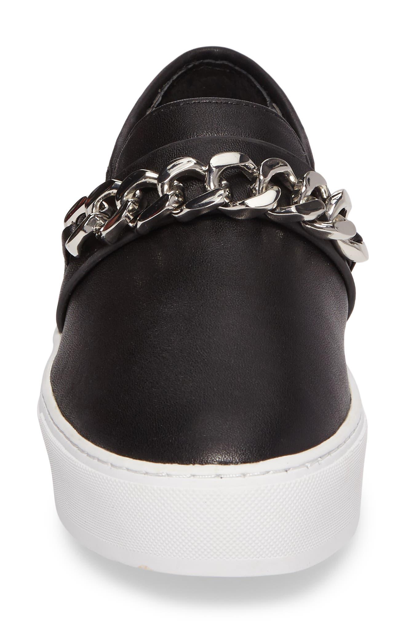 Nala Slip-On Sneaker,                             Alternate thumbnail 4, color,                             Black Leather