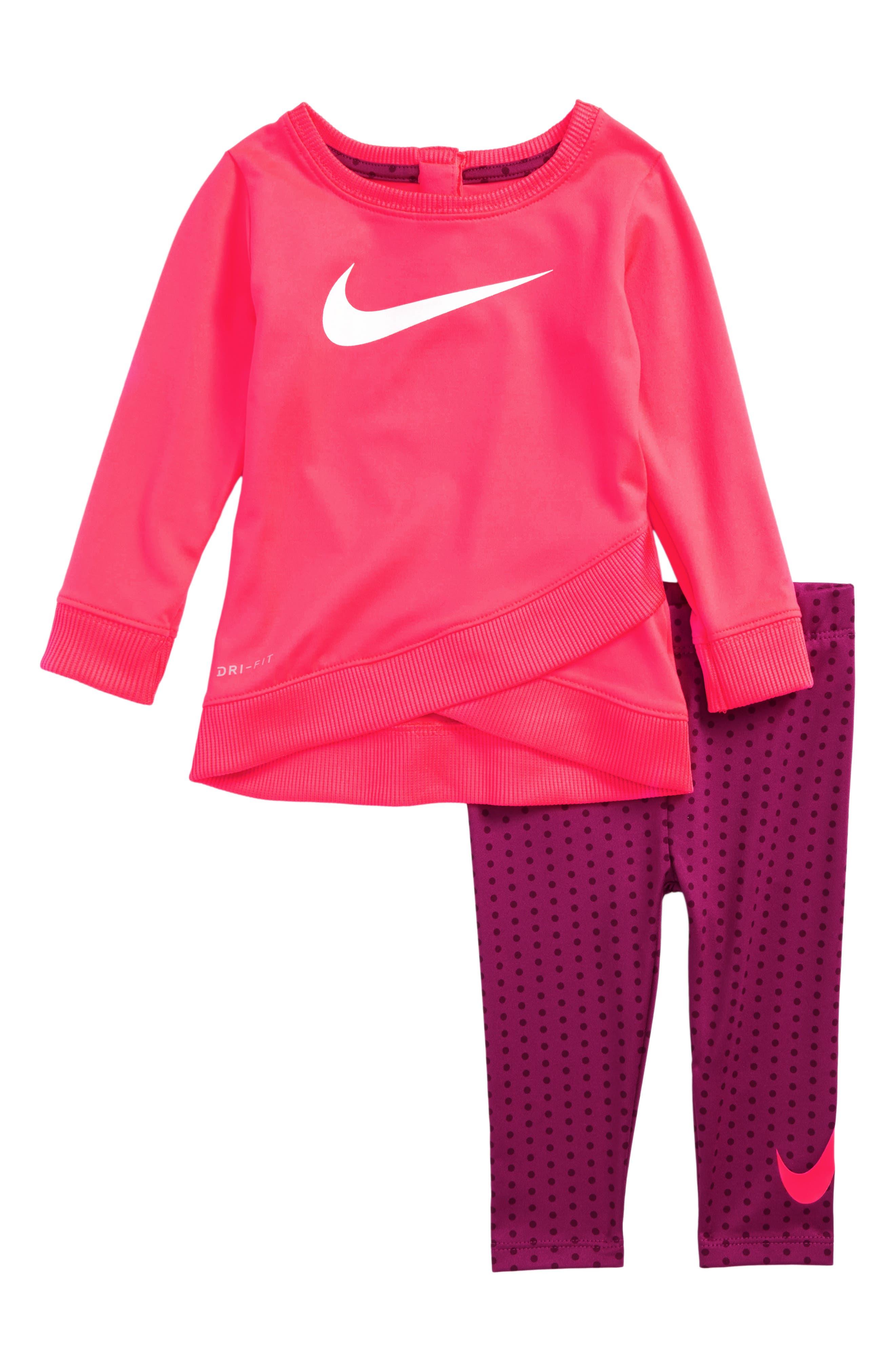 NIke Dri-FIT Logo Graphic Tee & Print Leggings Set (Baby Girls)