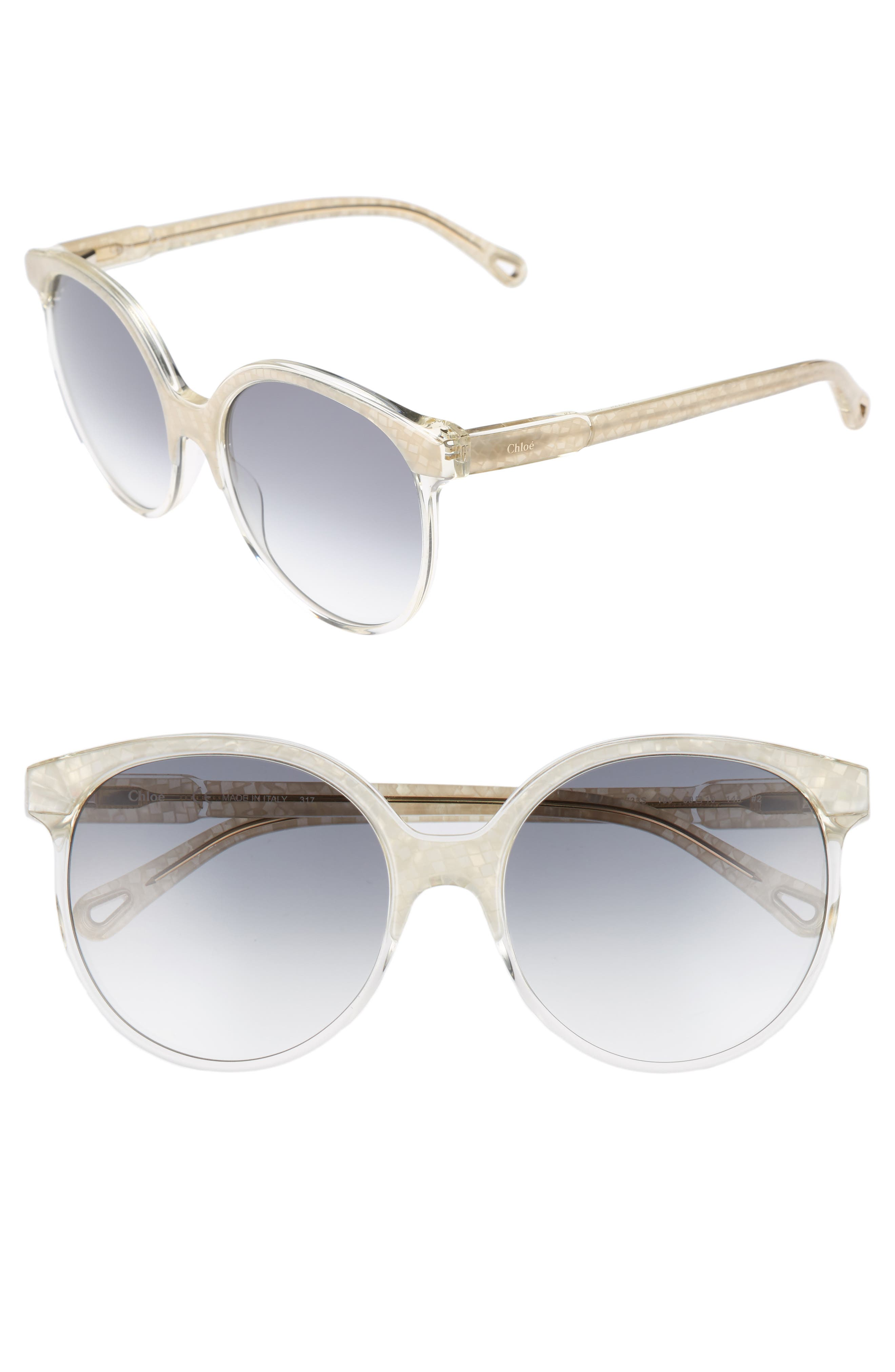 59mm Round Sunglasses,                             Main thumbnail 1, color,                             Pearl/ Champagne