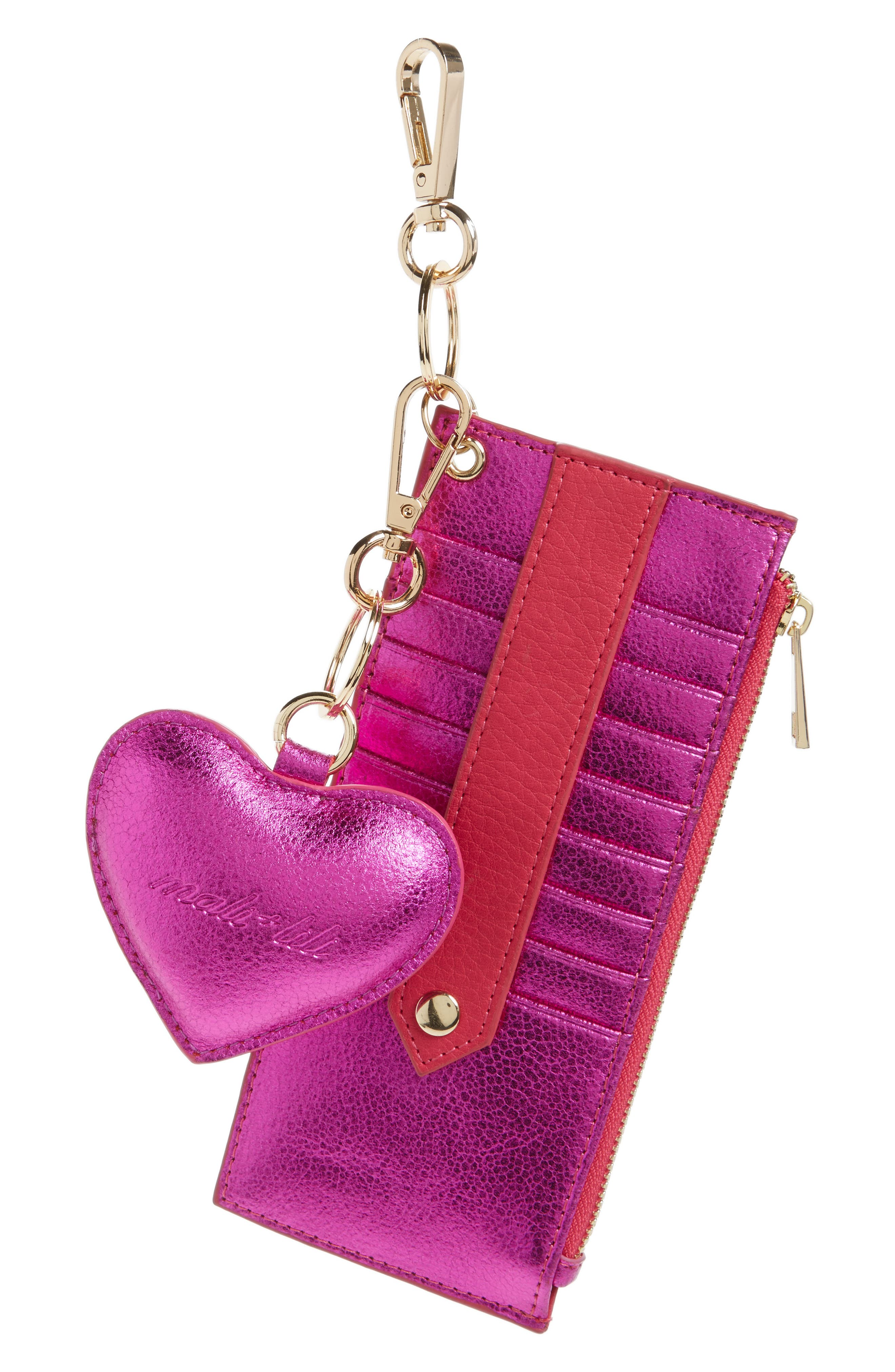 Mali + Lili Sydney Vegan Leather Card Case with Heart Charm,                             Main thumbnail 1, color,                             Hot Pink Metallic