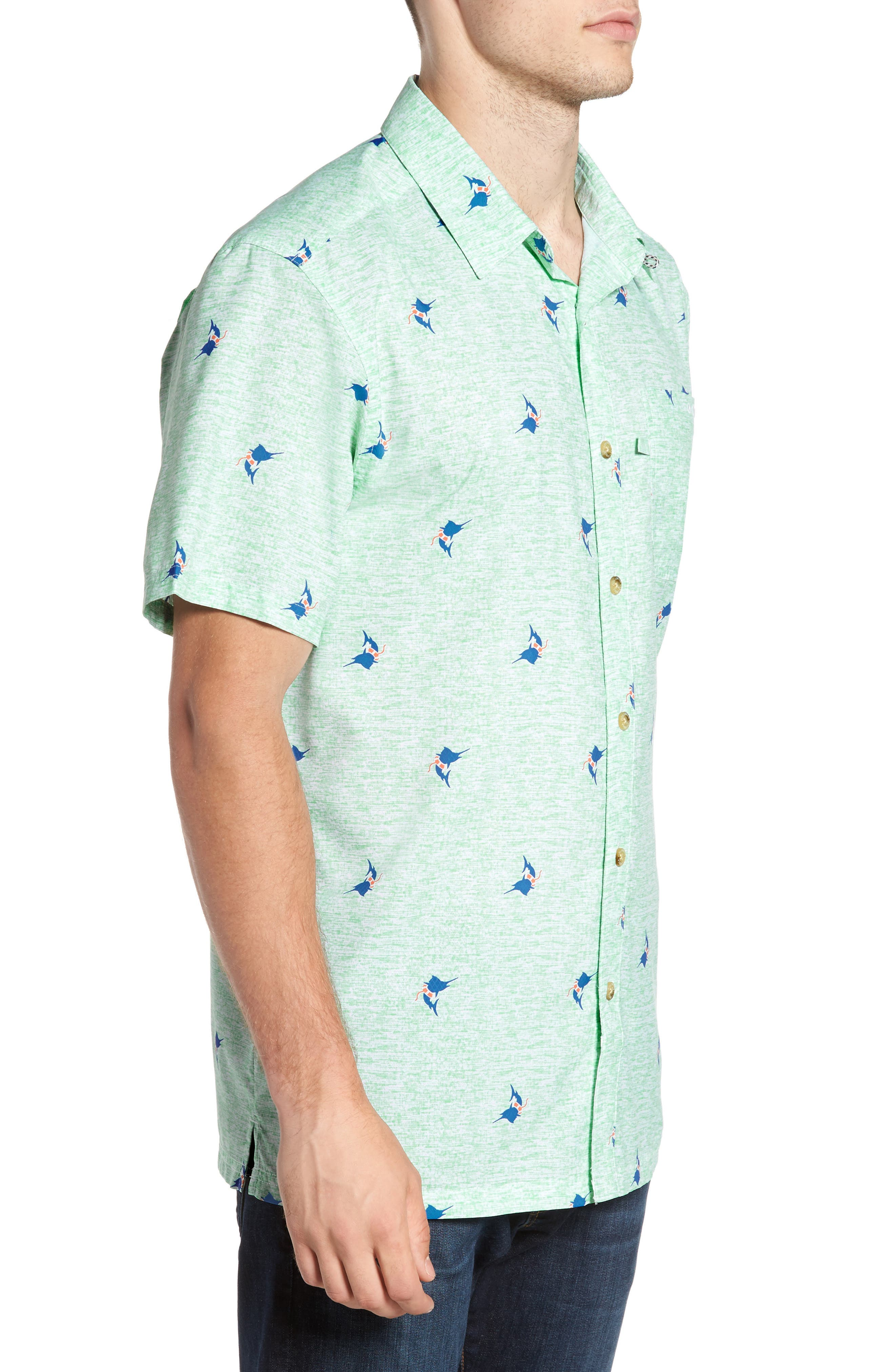 Super Slack Tide Patterned Woven Shirt,                             Alternate thumbnail 3, color,                             Kelp Marlin Print