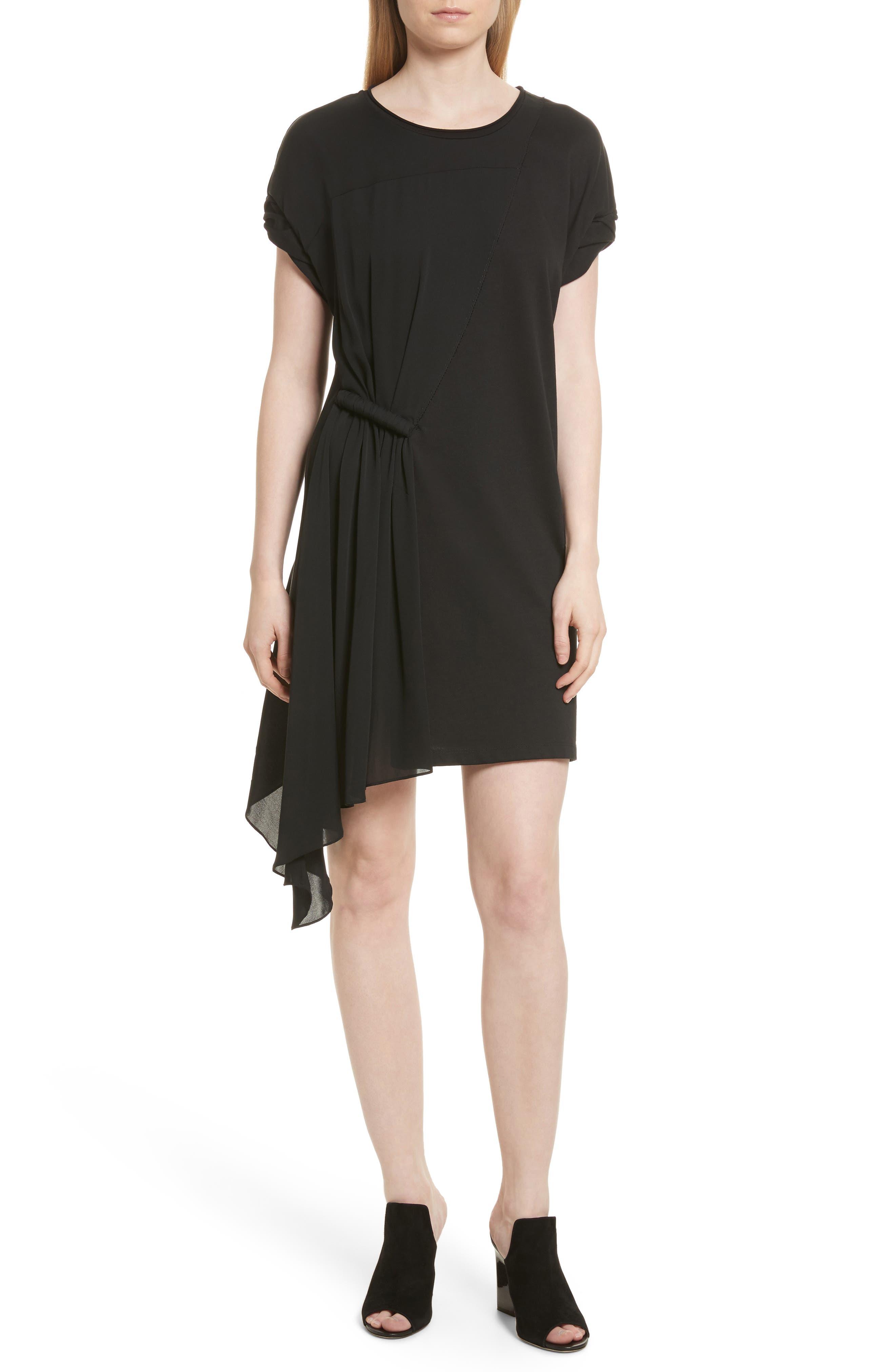 Gathered Waist Dress,                         Main,                         color, Black