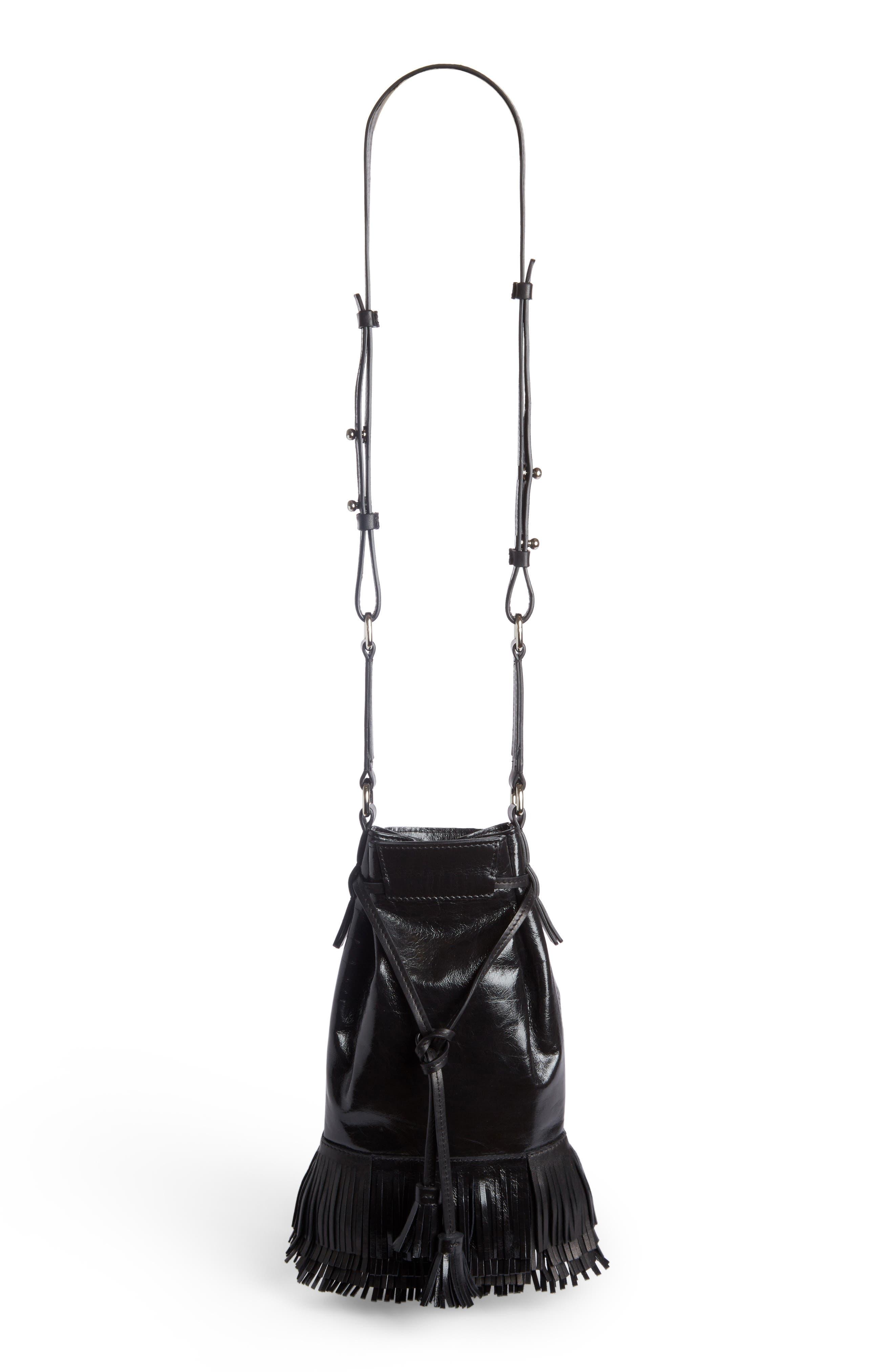 Askiah Fringe Leather Crossbody Bag,                         Main,                         color, Black