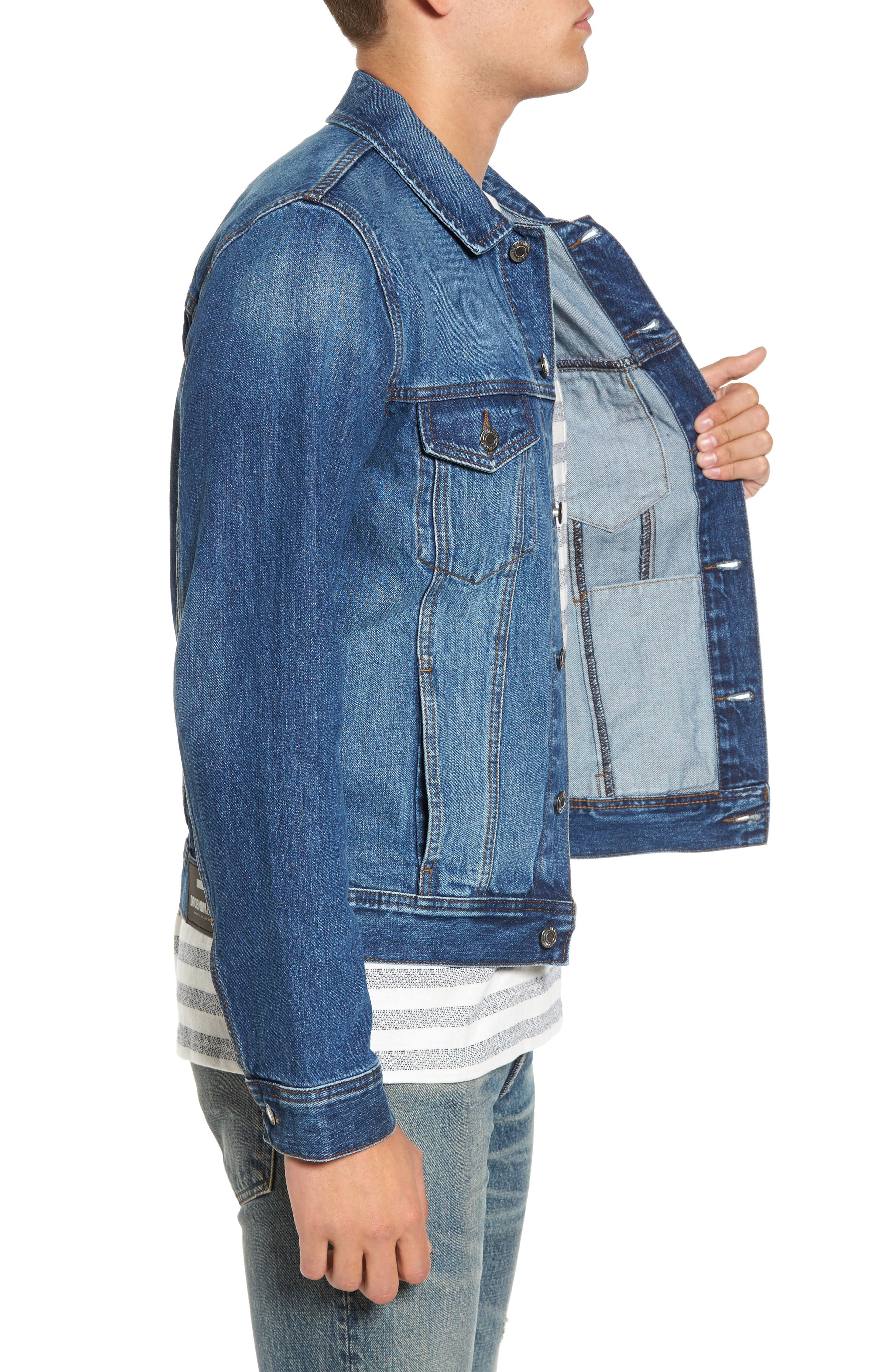 Dwight Denim Jacket,                             Alternate thumbnail 3, color,                             Worn Mid Blue