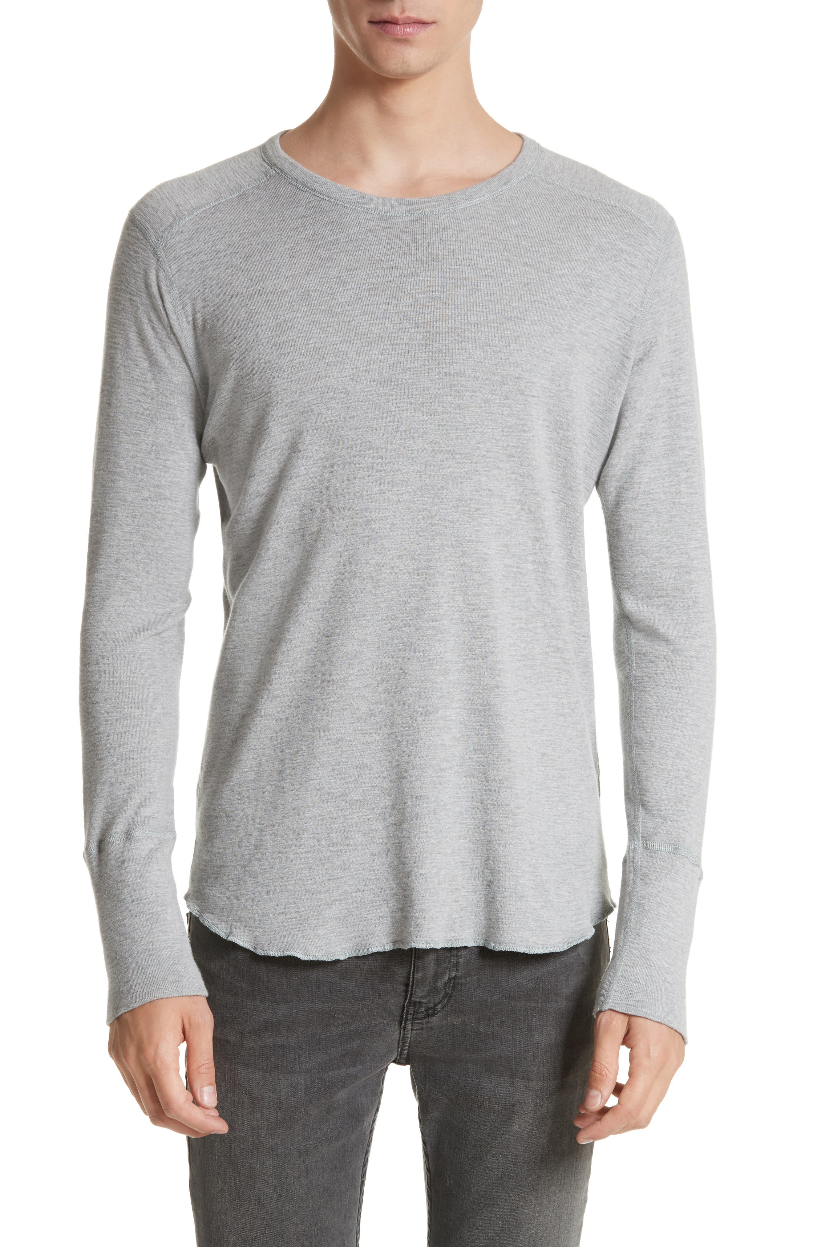 WINGS + HORNS Slub Crewneck Sweater in Heather Grey