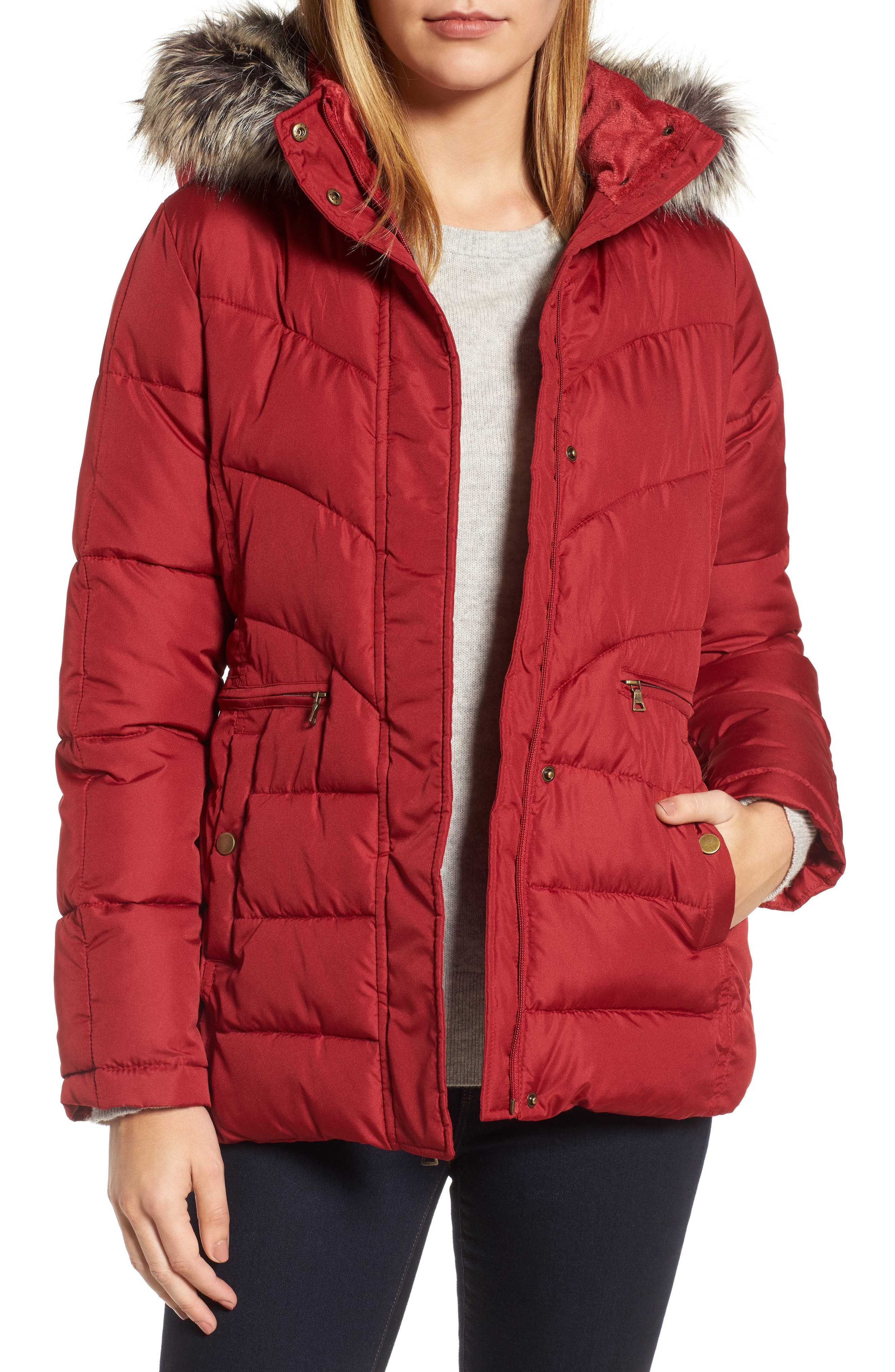 Quilted Coat with Faux Fur Trim,                             Main thumbnail 1, color,                             Brick