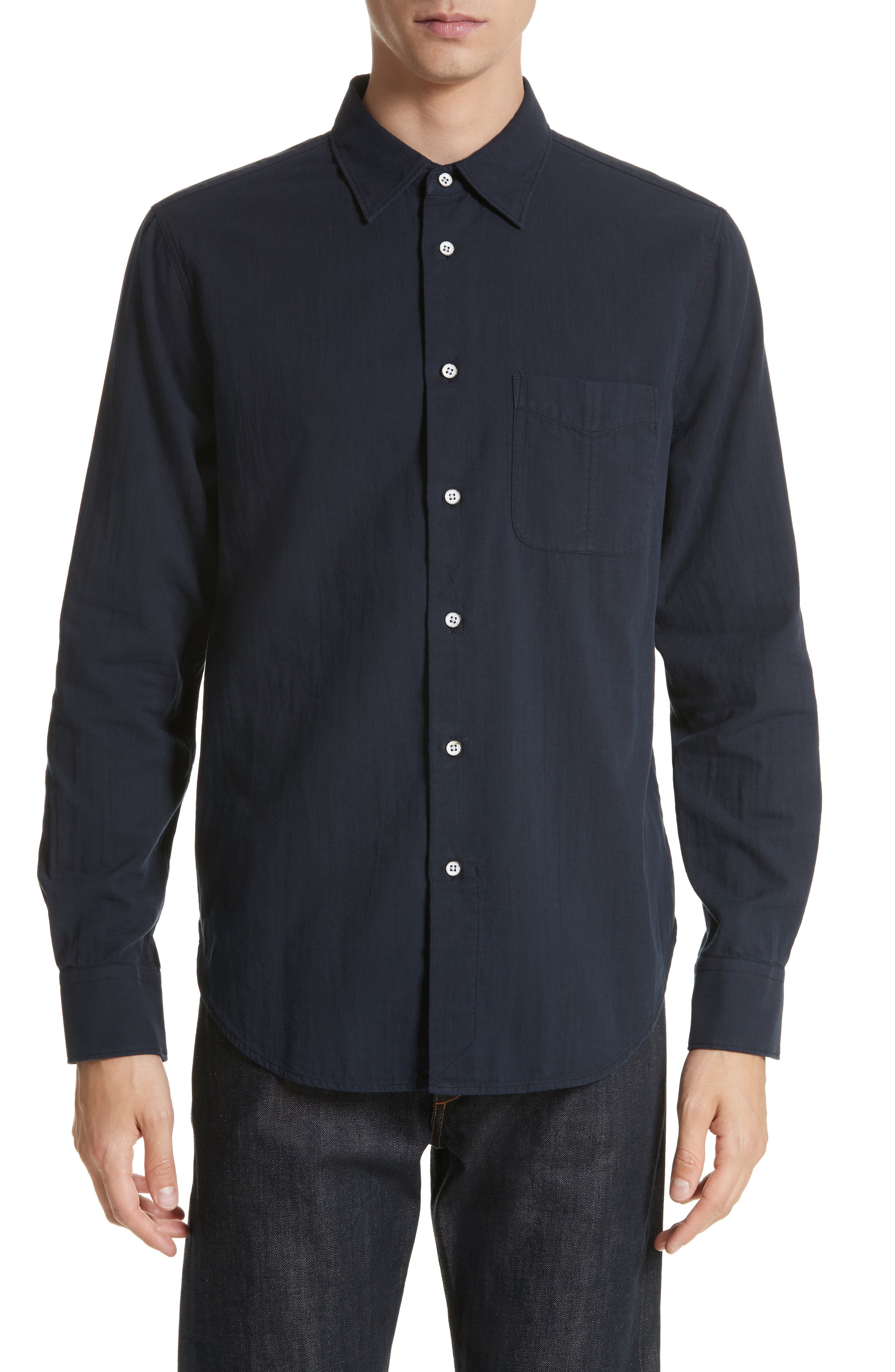 Standard Issue Solid Sport Shirt,                         Main,                         color, Navy