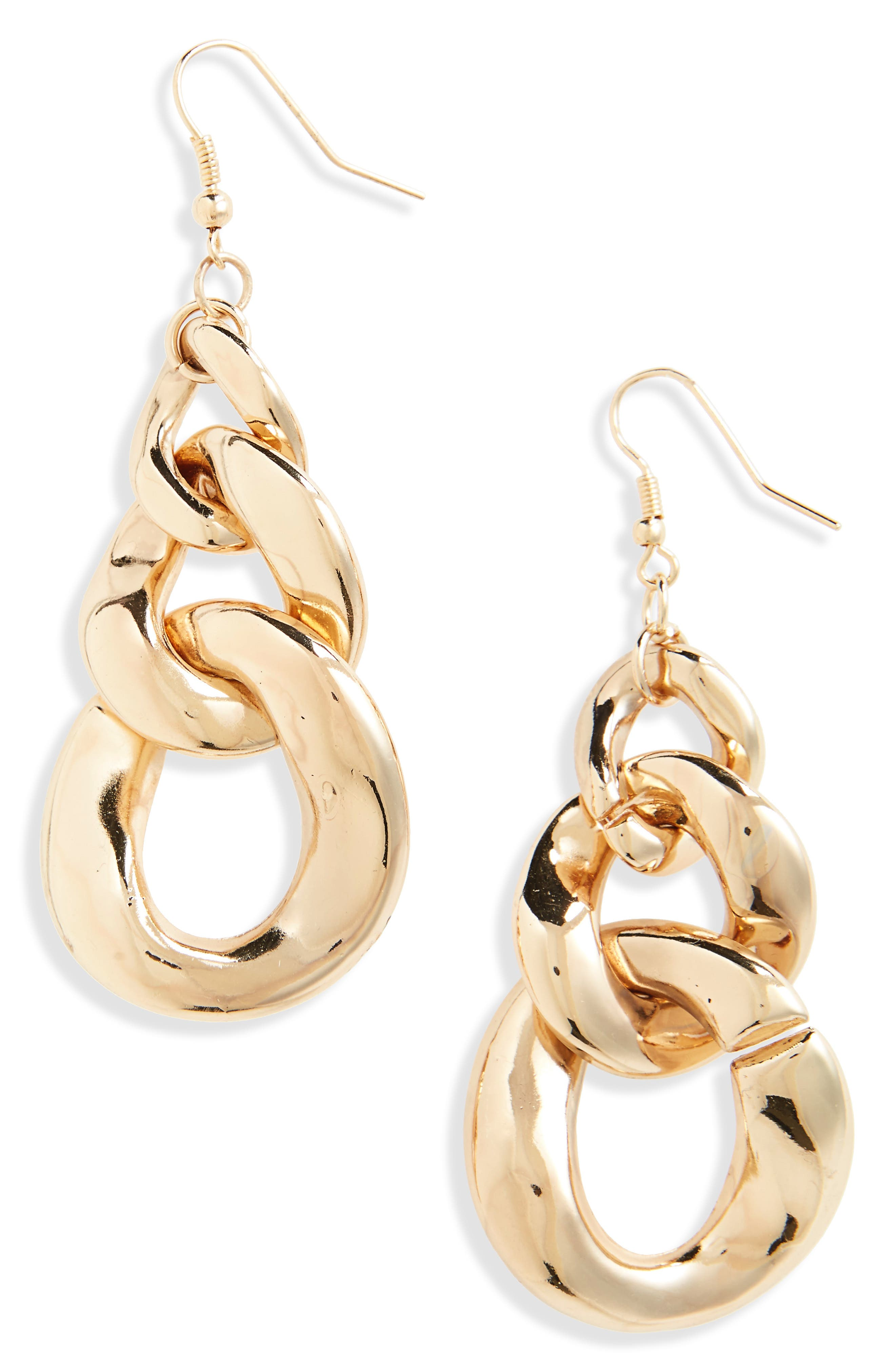 Short Chain Earrings,                         Main,                         color, Gold