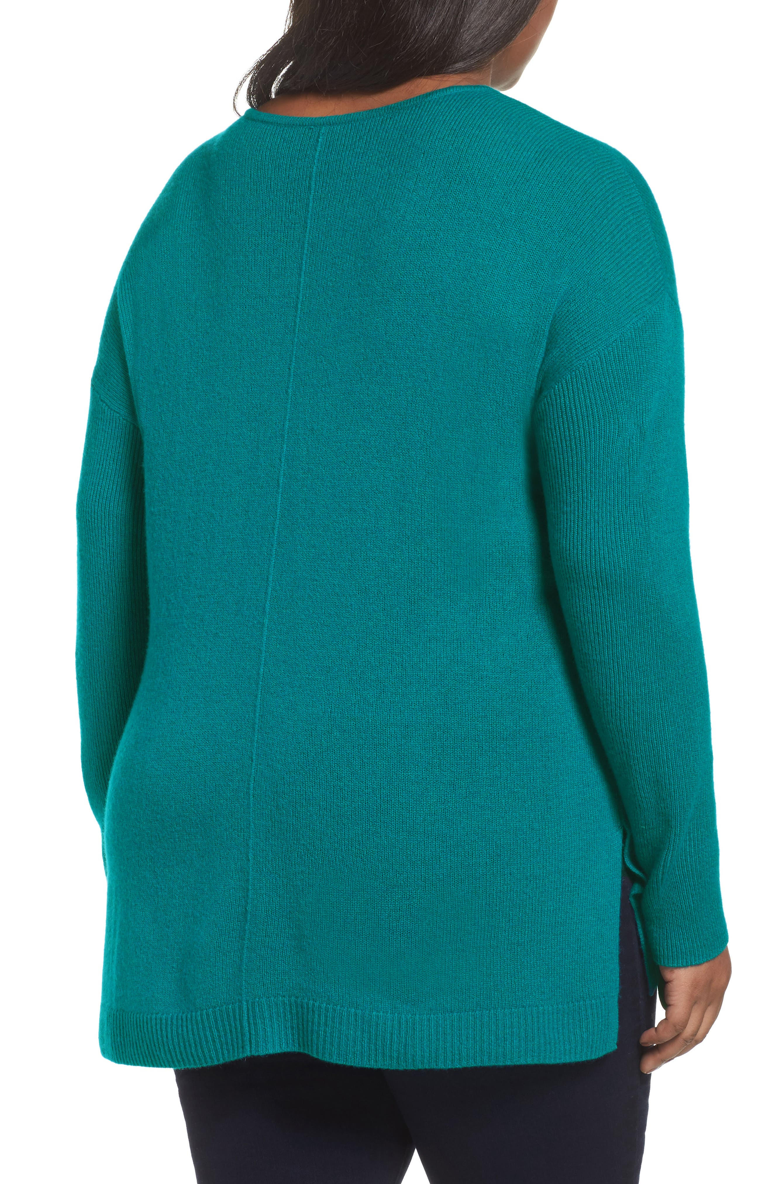 Alternate Image 2  - Sejour Easy V-Neck Wool & Cashmere Pullover (Plus Size)