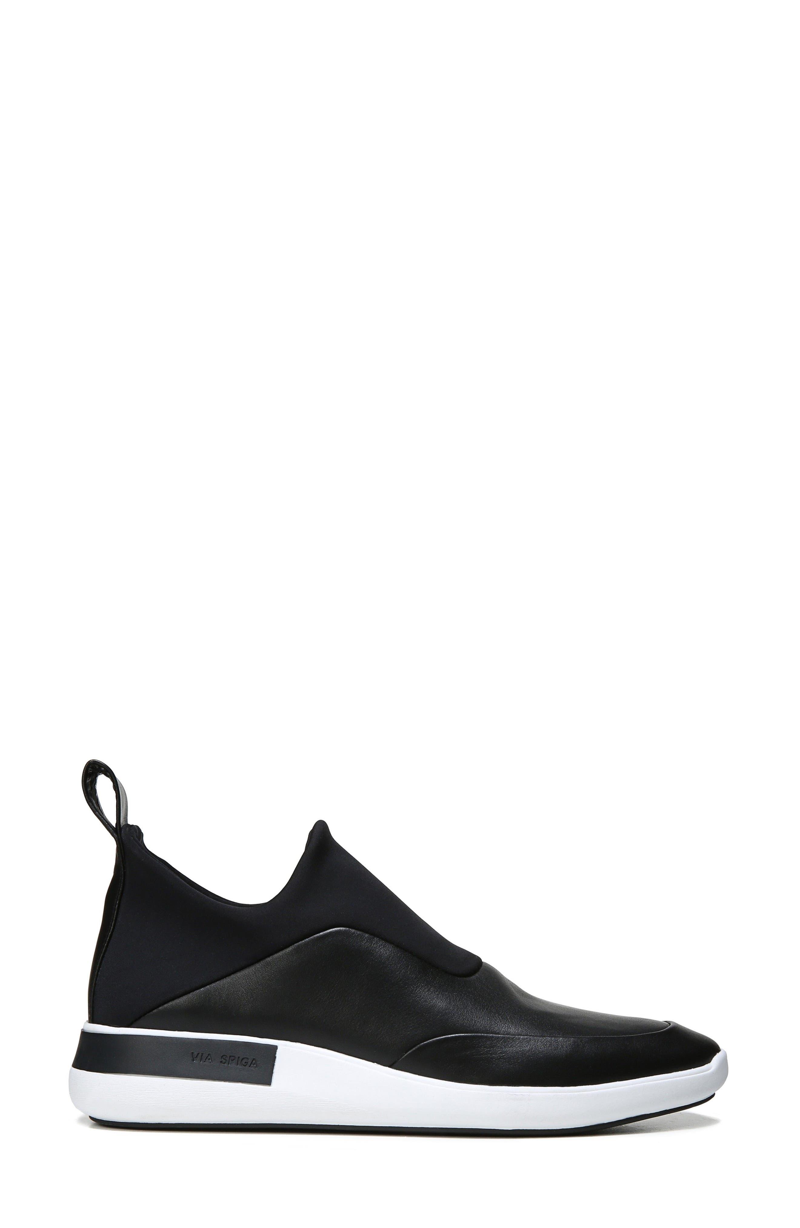 Mercer Slip-On Sneaker,                             Alternate thumbnail 3, color,                             Black Leather