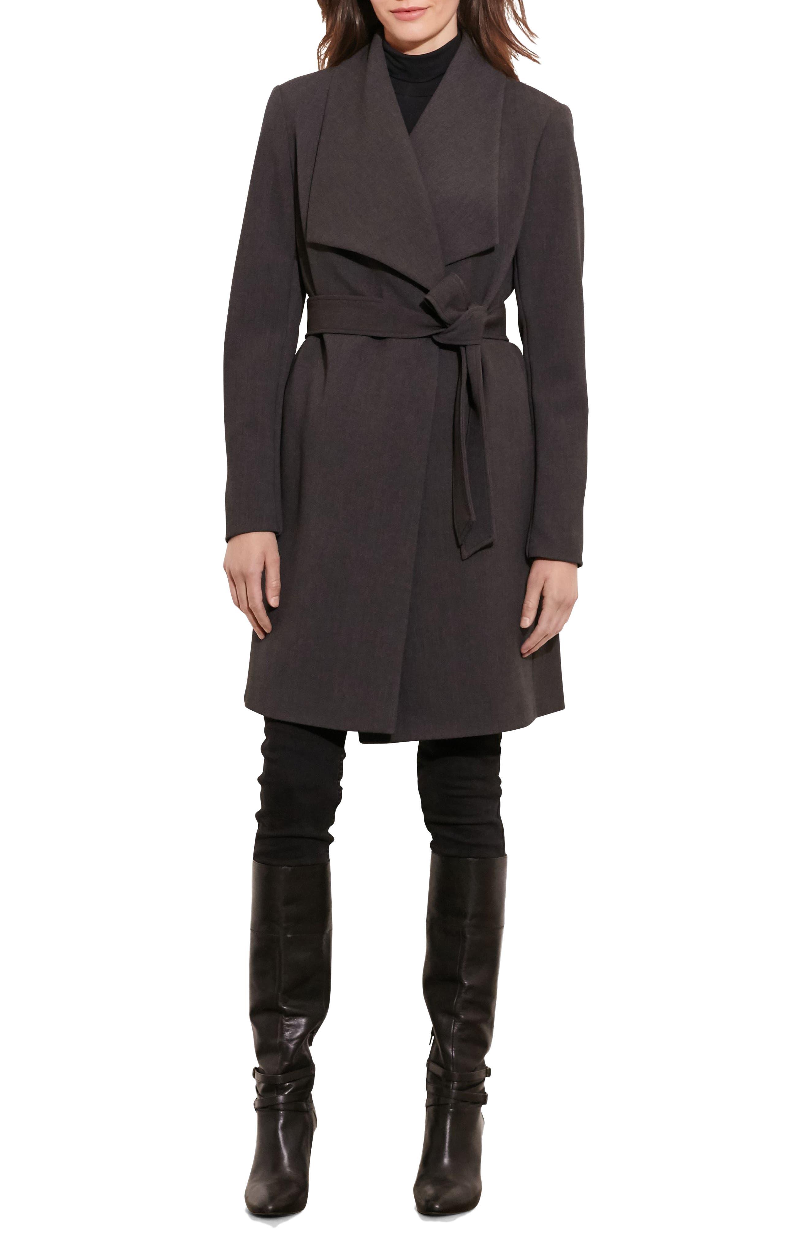 Alternate Image 2  - Lauren Ralph Lauren Belted Drape Front Coat (Regular & Petite)