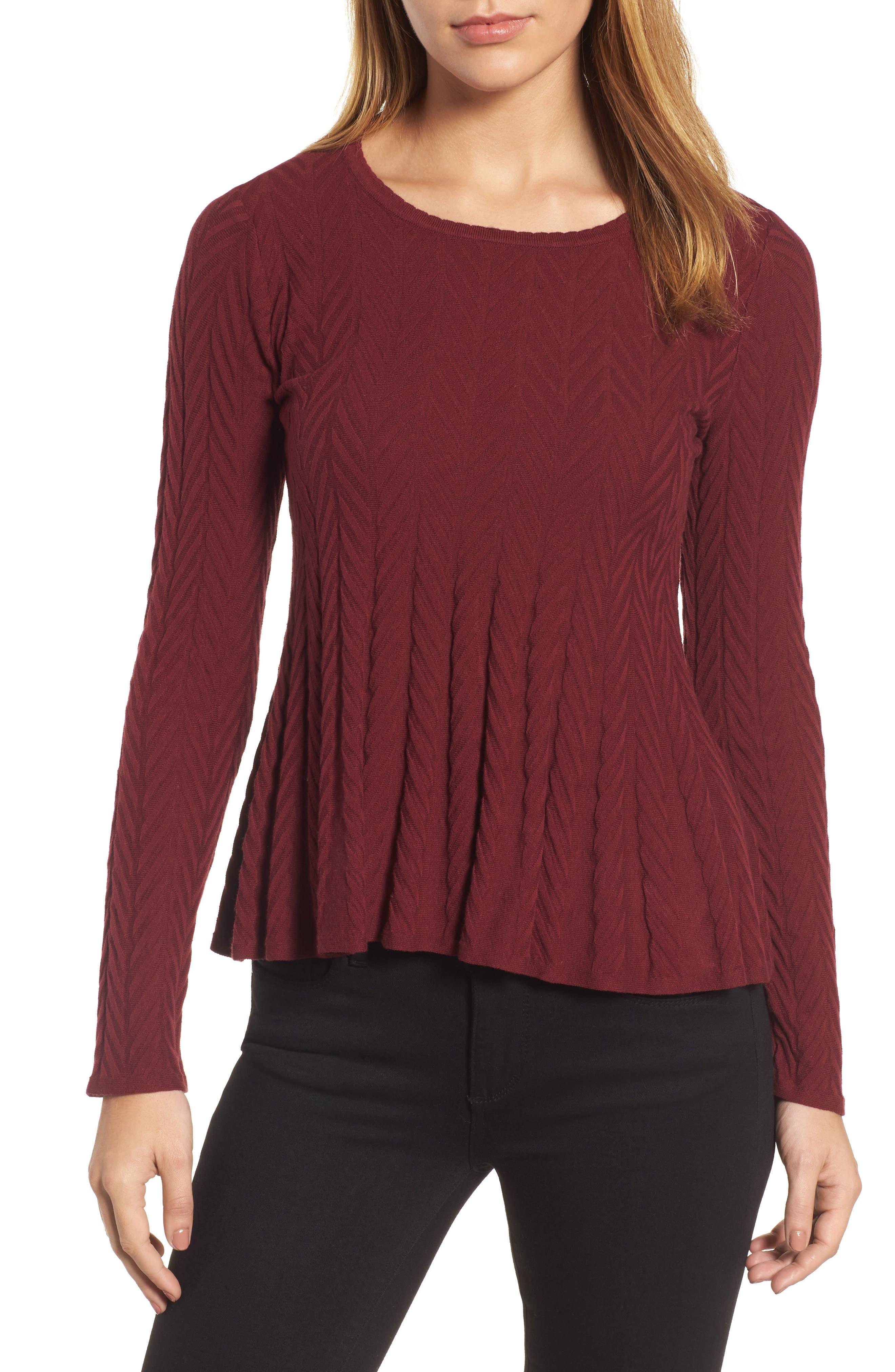 Alternate Image 1 Selected - CeCe Chevron Stitch Sweater