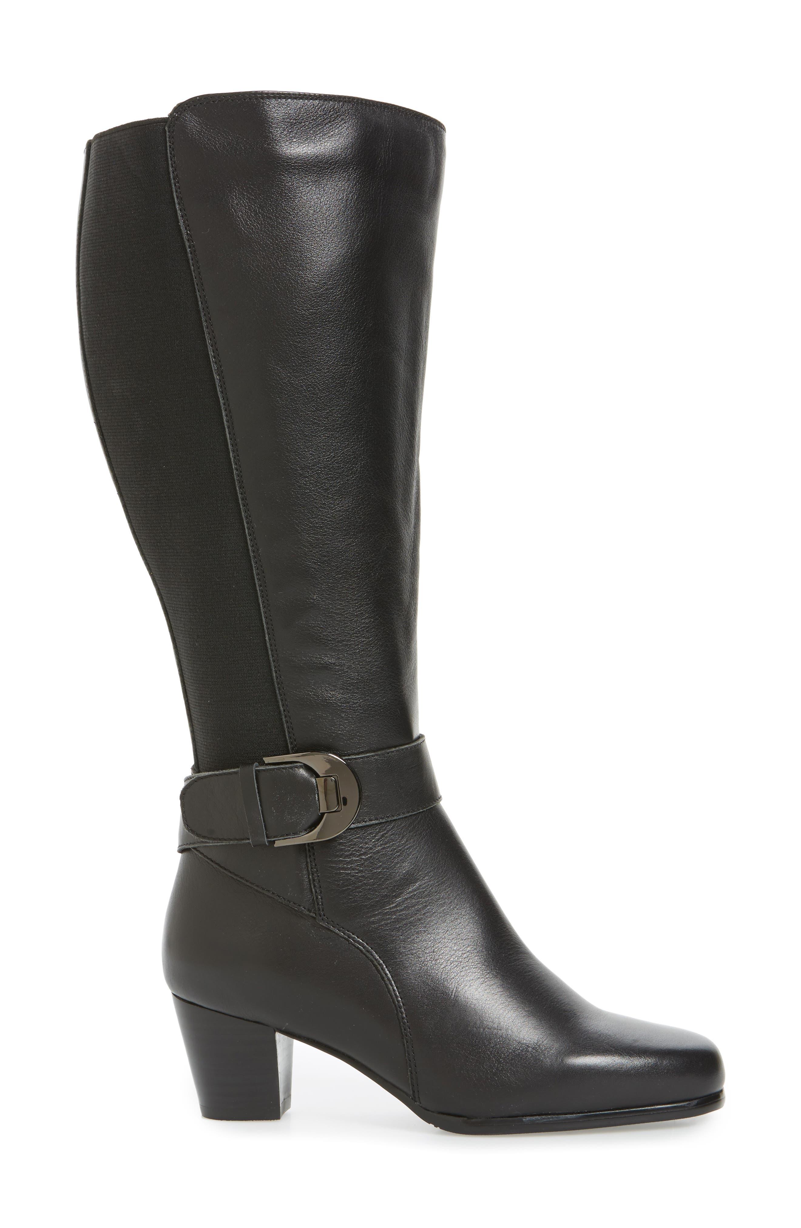 Bonita 18 Boot,                             Alternate thumbnail 3, color,                             Black Leather Fabric