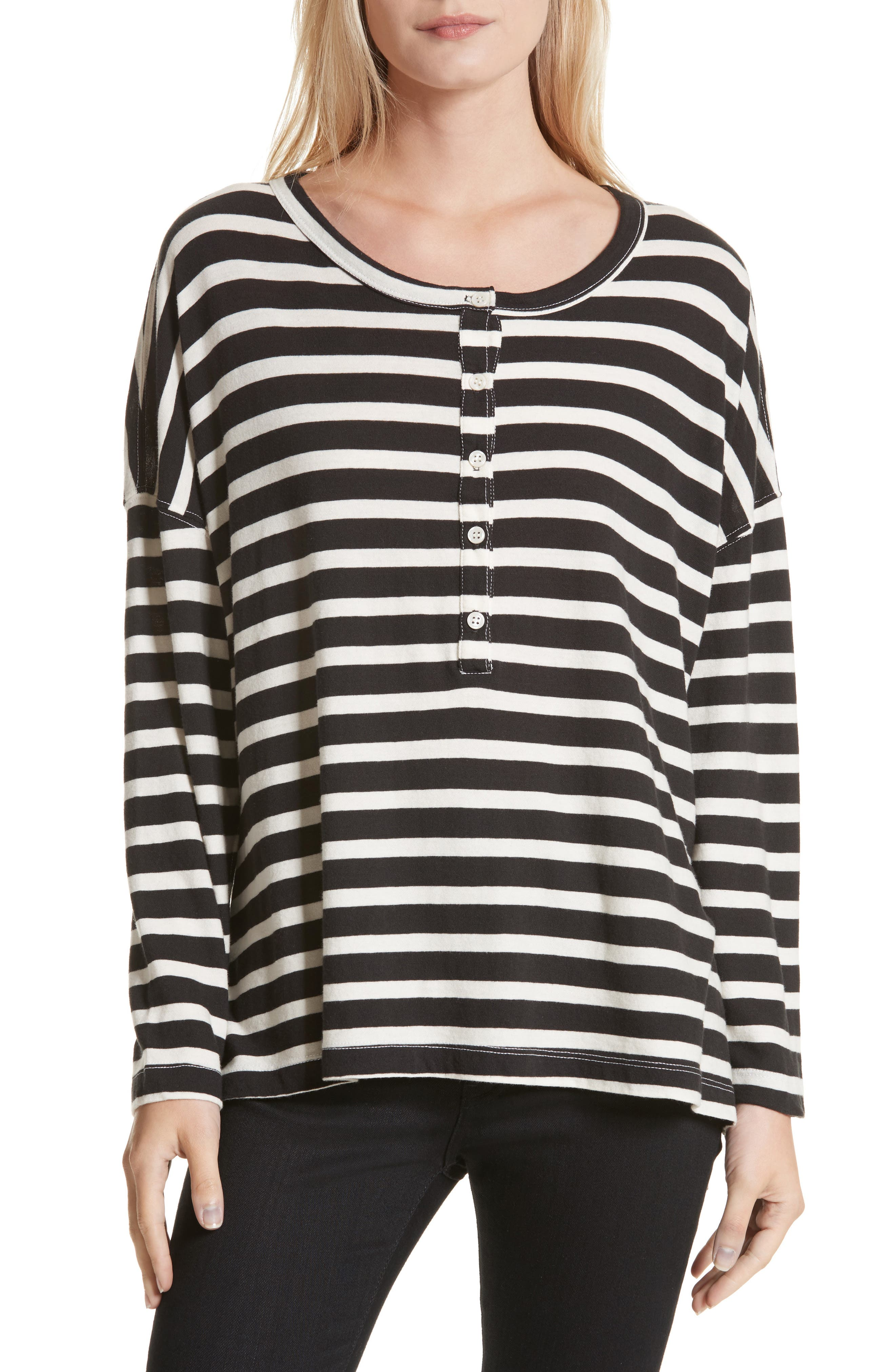 The Slouch Henley,                         Main,                         color, Black/ Cream Stripe
