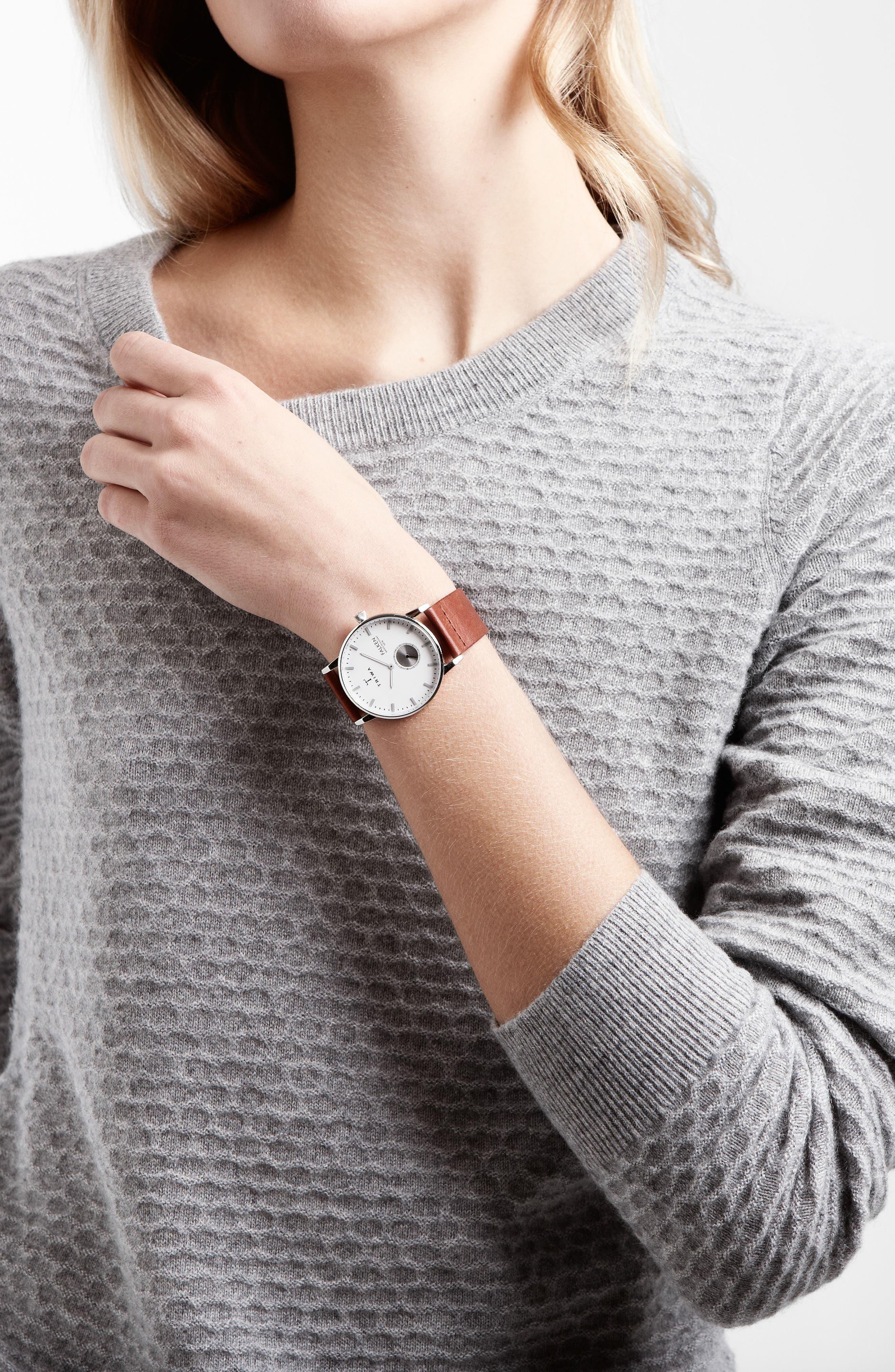Ivory Falken Organic Leather Strap Watch, 38mm,                             Alternate thumbnail 2, color,                             Cognac/ Silver/ White
