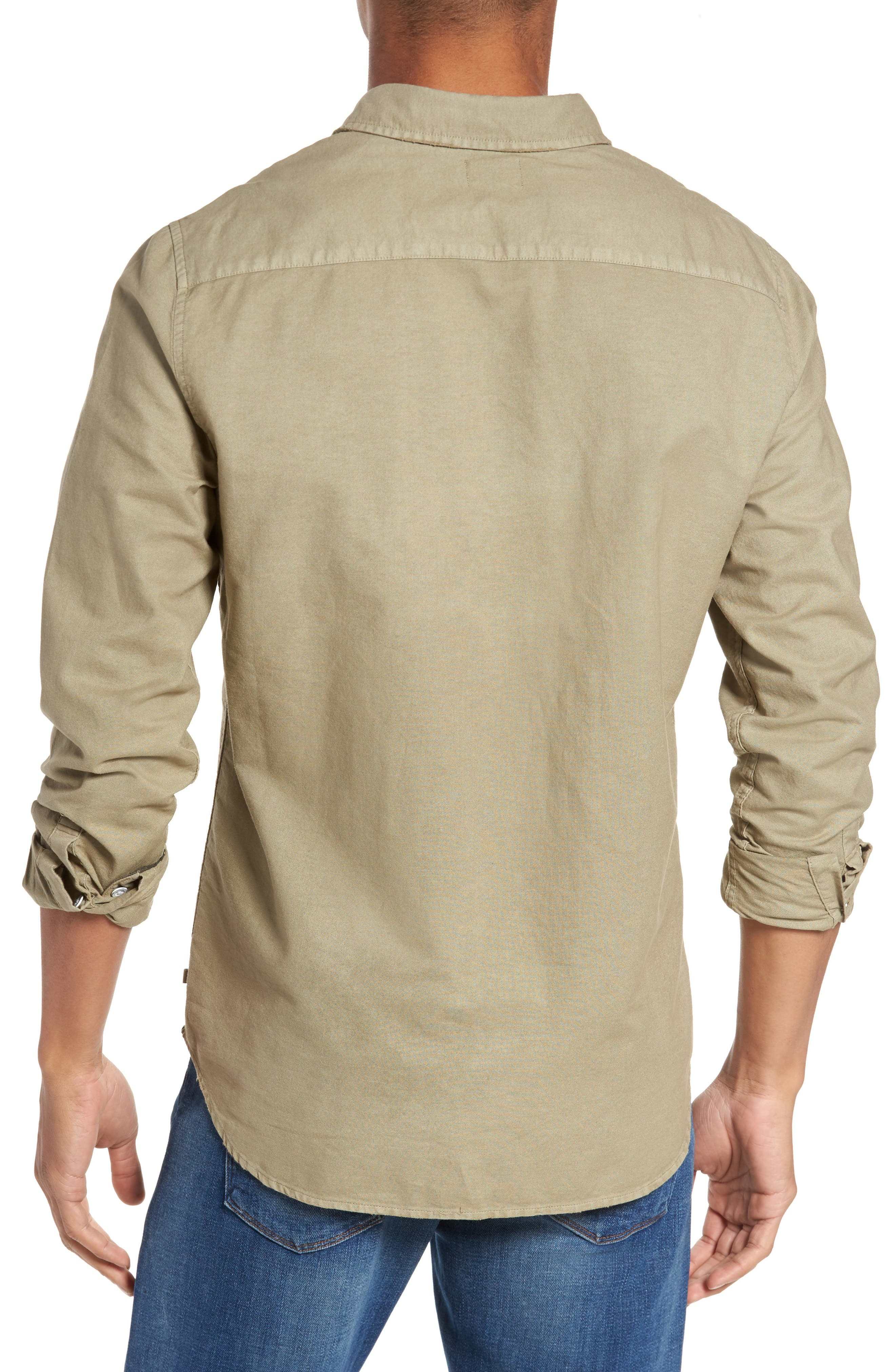 Caleb Slim Fit Twill Sport Shirt,                             Alternate thumbnail 2, color,                             5 Years Pigment New Moss