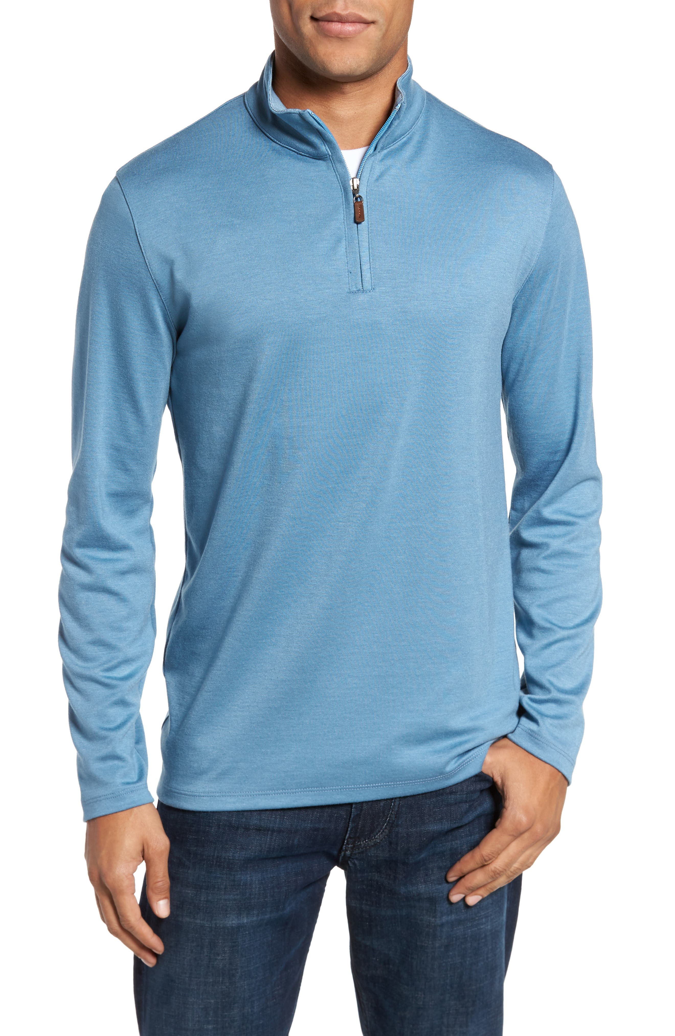 Quarter Zip Pullover,                         Main,                         color, Blue